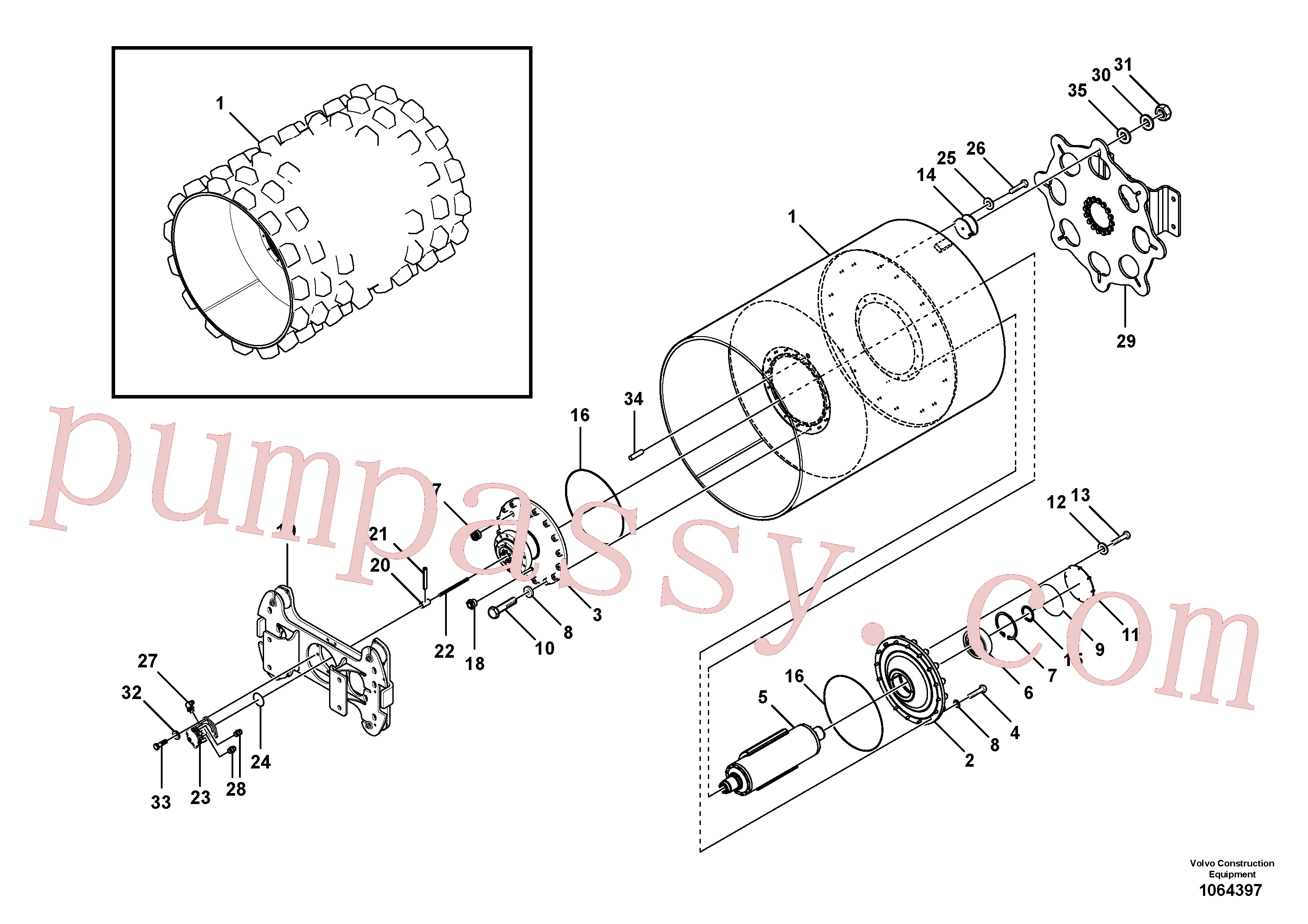 RM13351408 for Volvo Drum Assembly(1064397 assembly)
