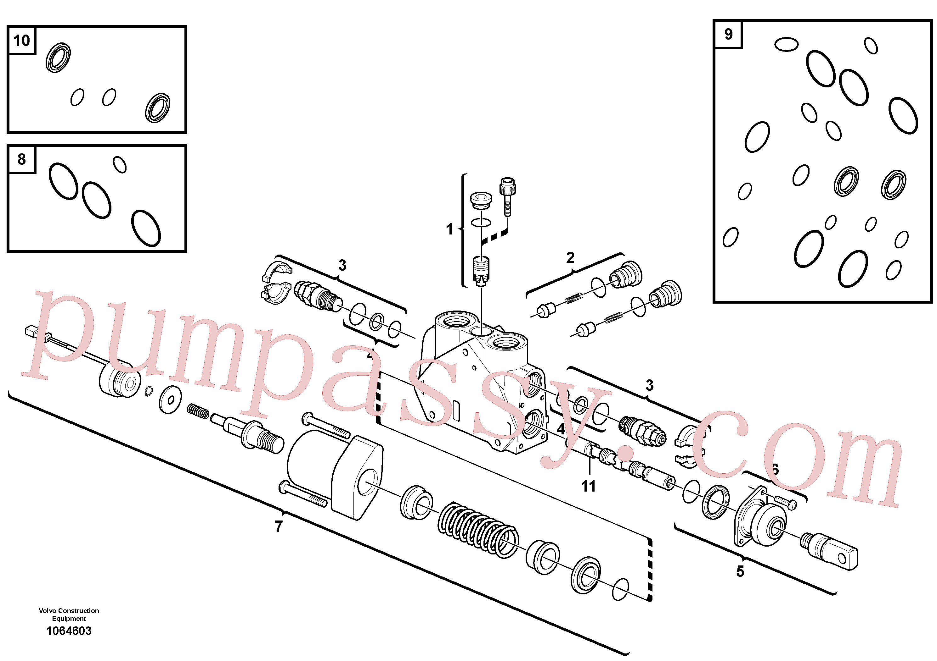 VOE17228007 for Volvo Valve section(1064603 assembly)