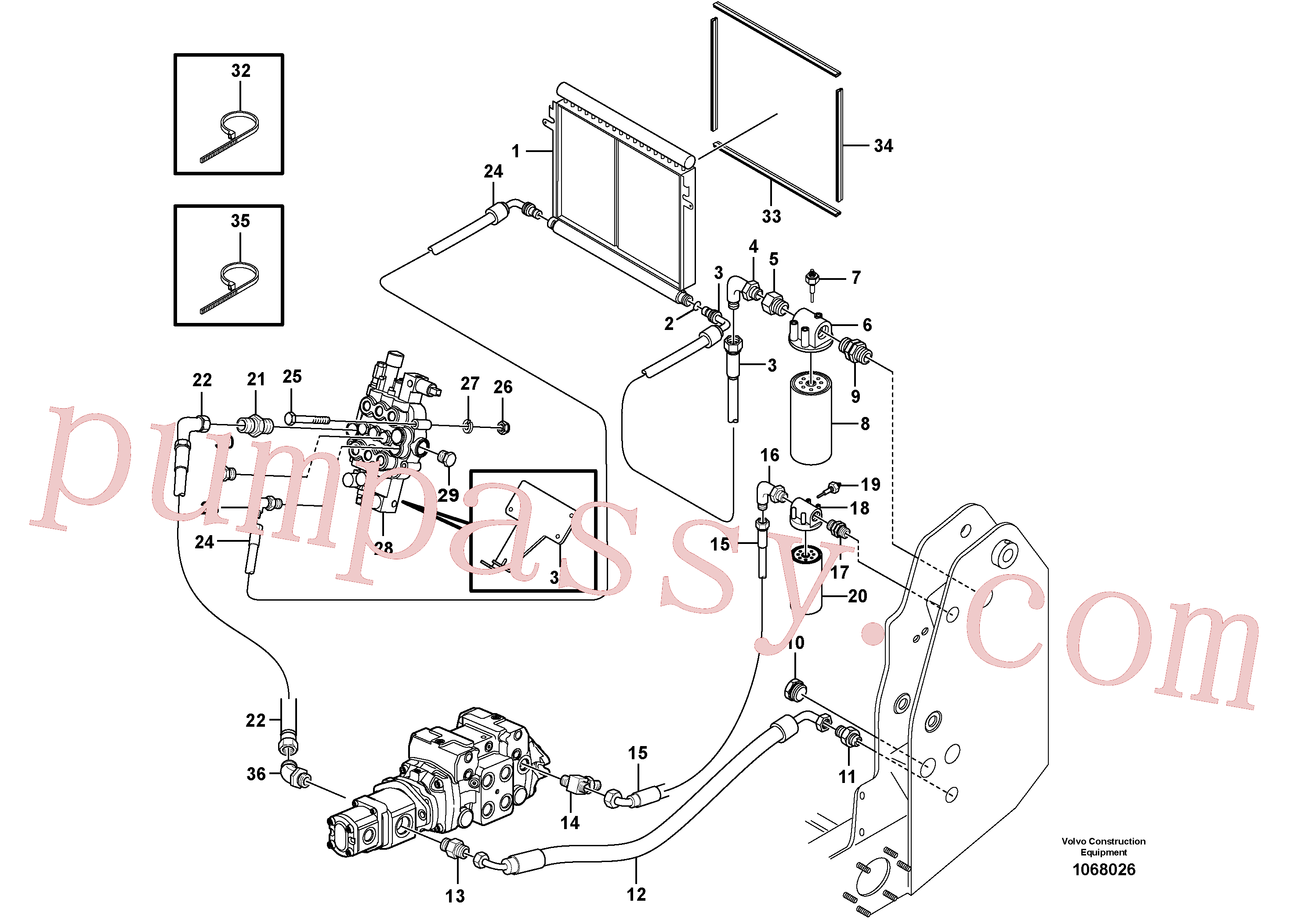 VOE955541 for Volvo Supply/return and Cooling Circuits(1068026 assembly)