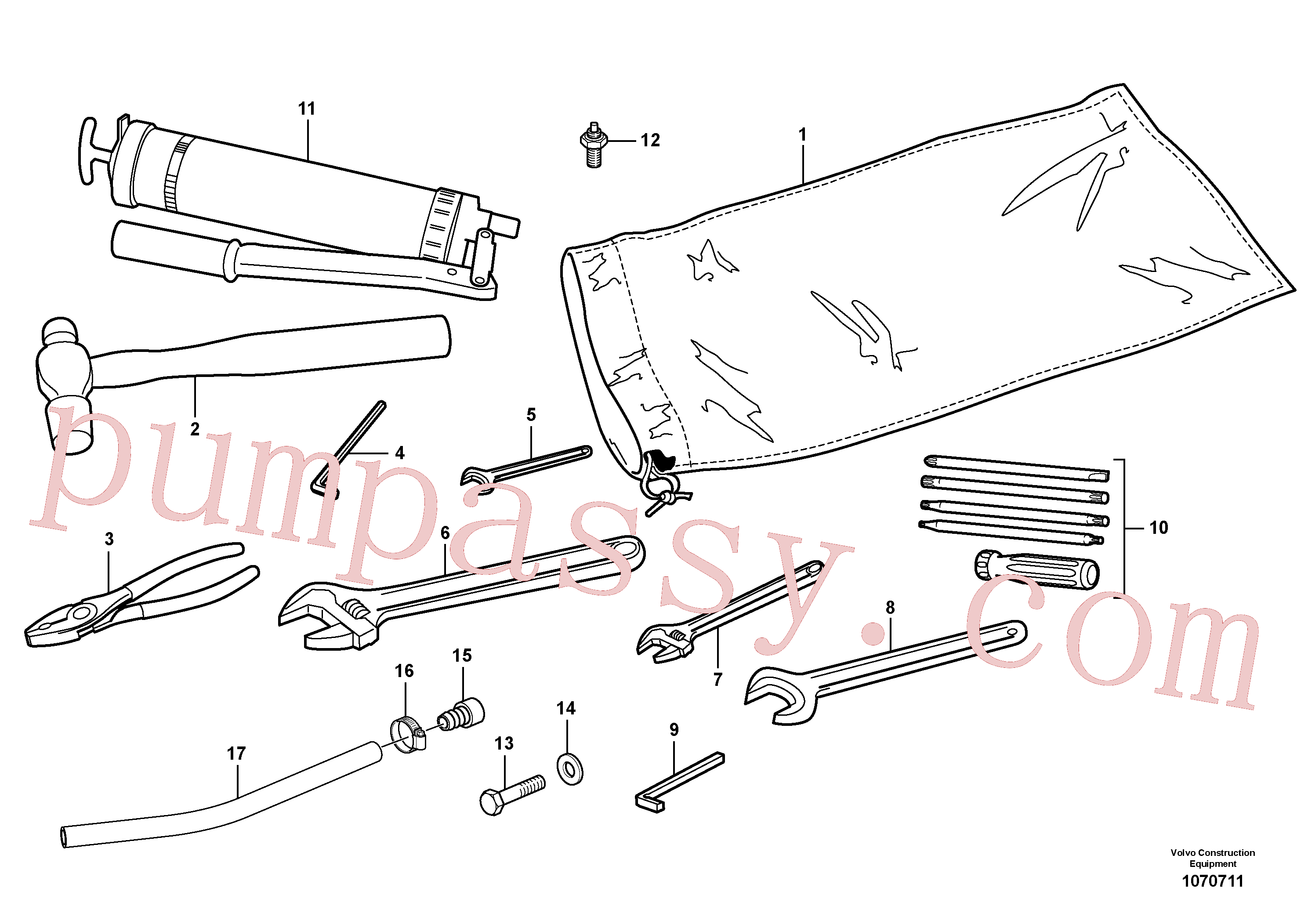 VOE962075 for Volvo Tools(1070711 assembly)