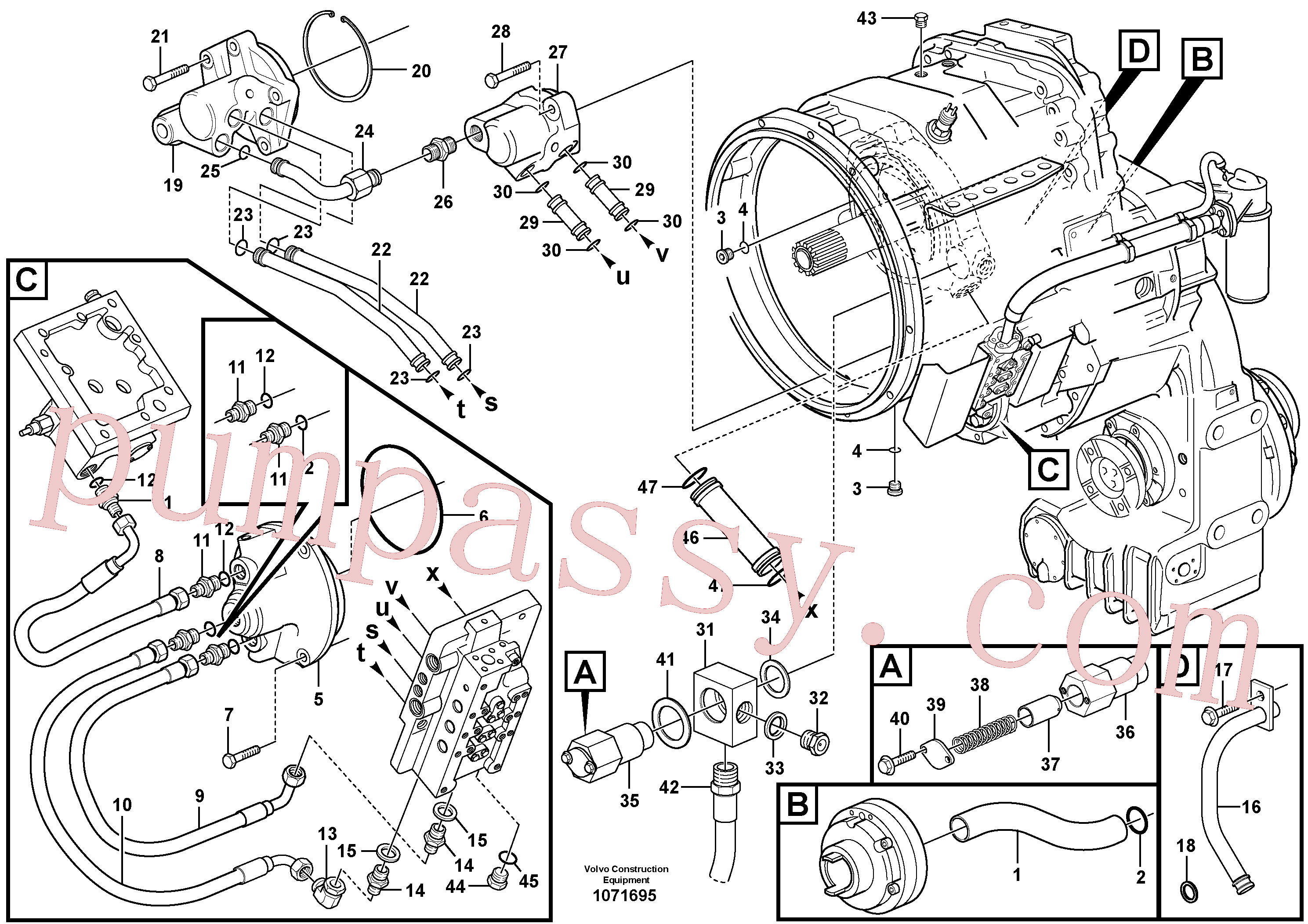 VOE14266162 for Volvo Oil distributor and tube(1071695 assembly)