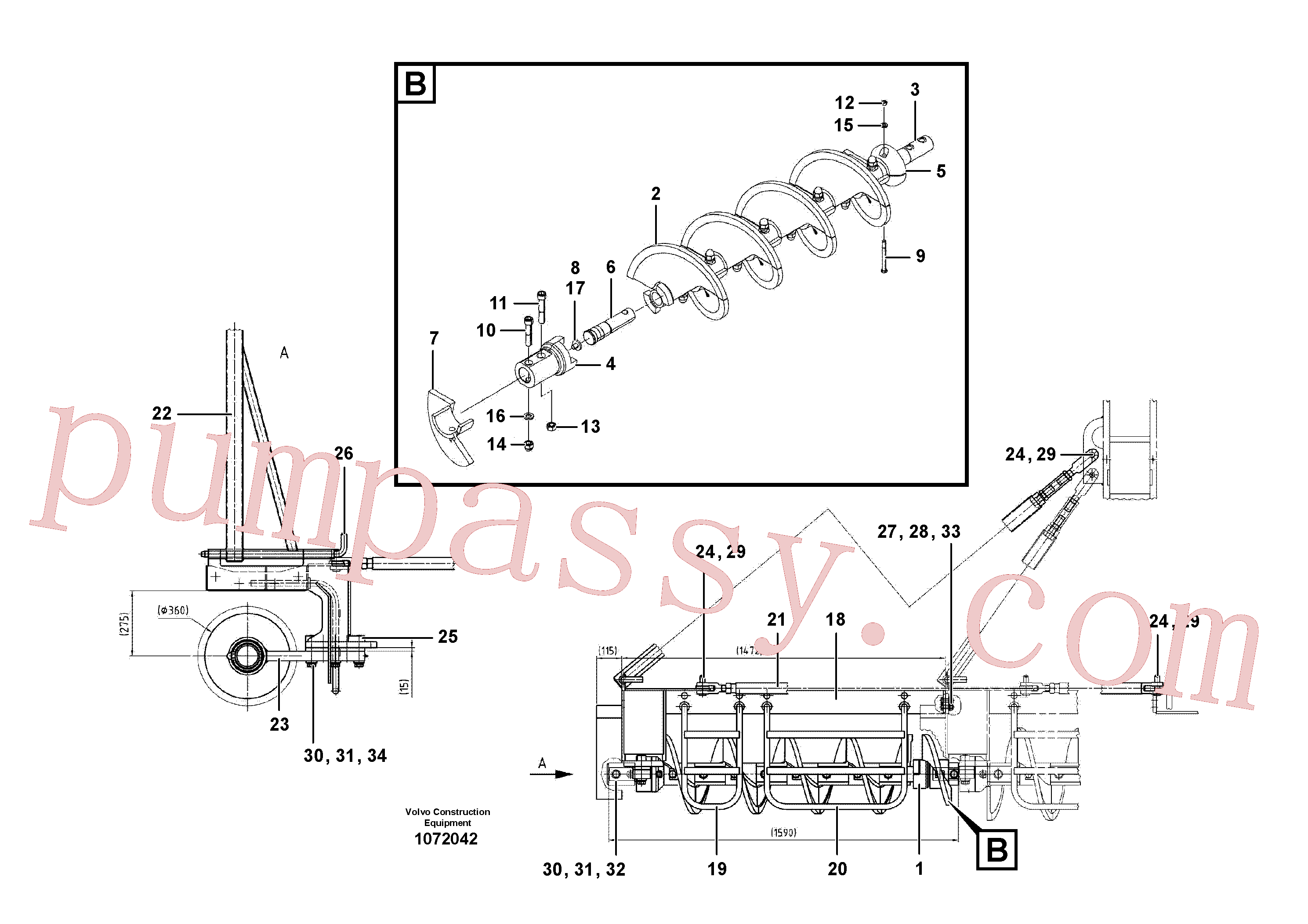 RM80803679 for Volvo Auger extension set(1072042 assembly)