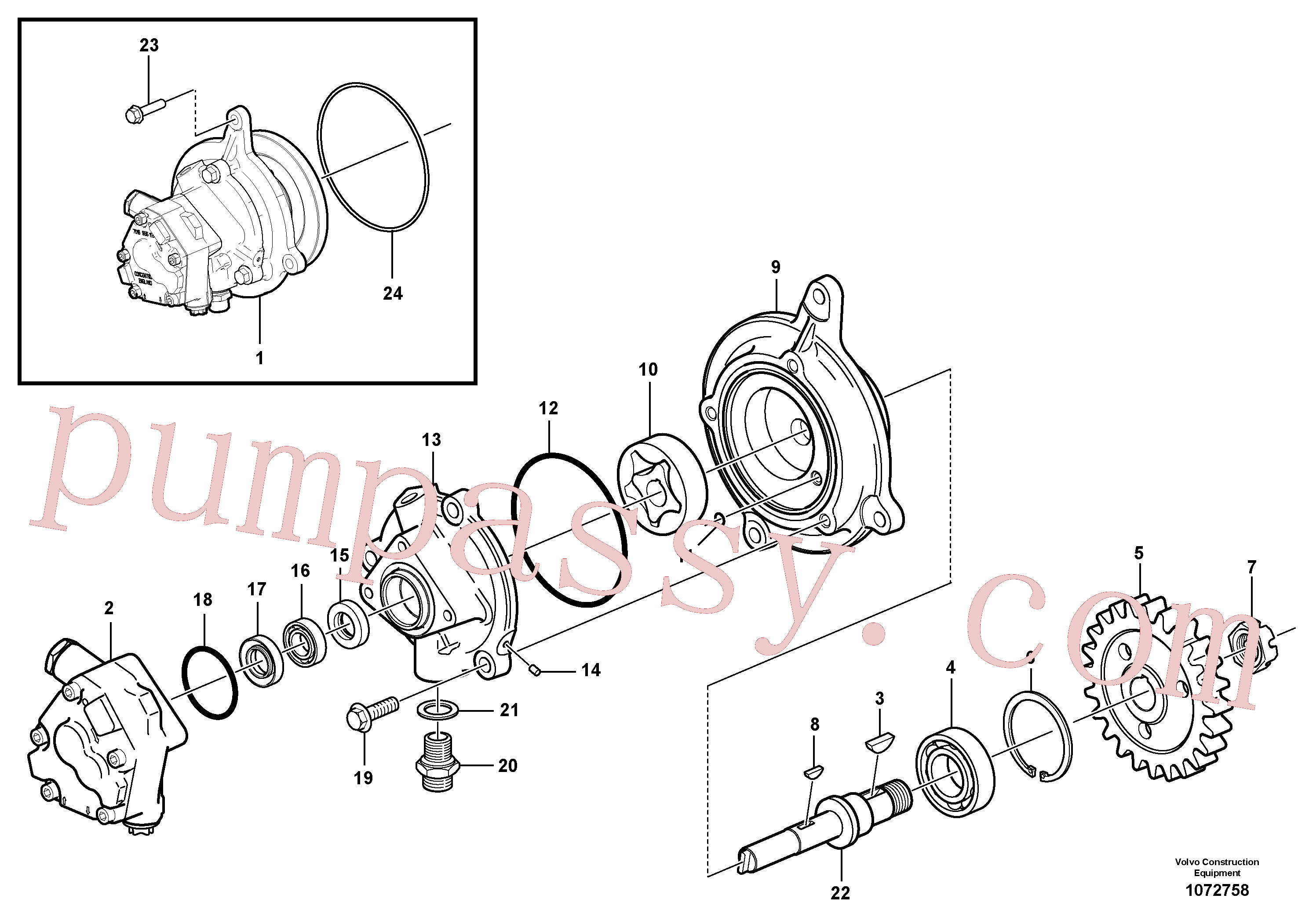 VOE976930 for Volvo Oil pump(1072758 assembly)