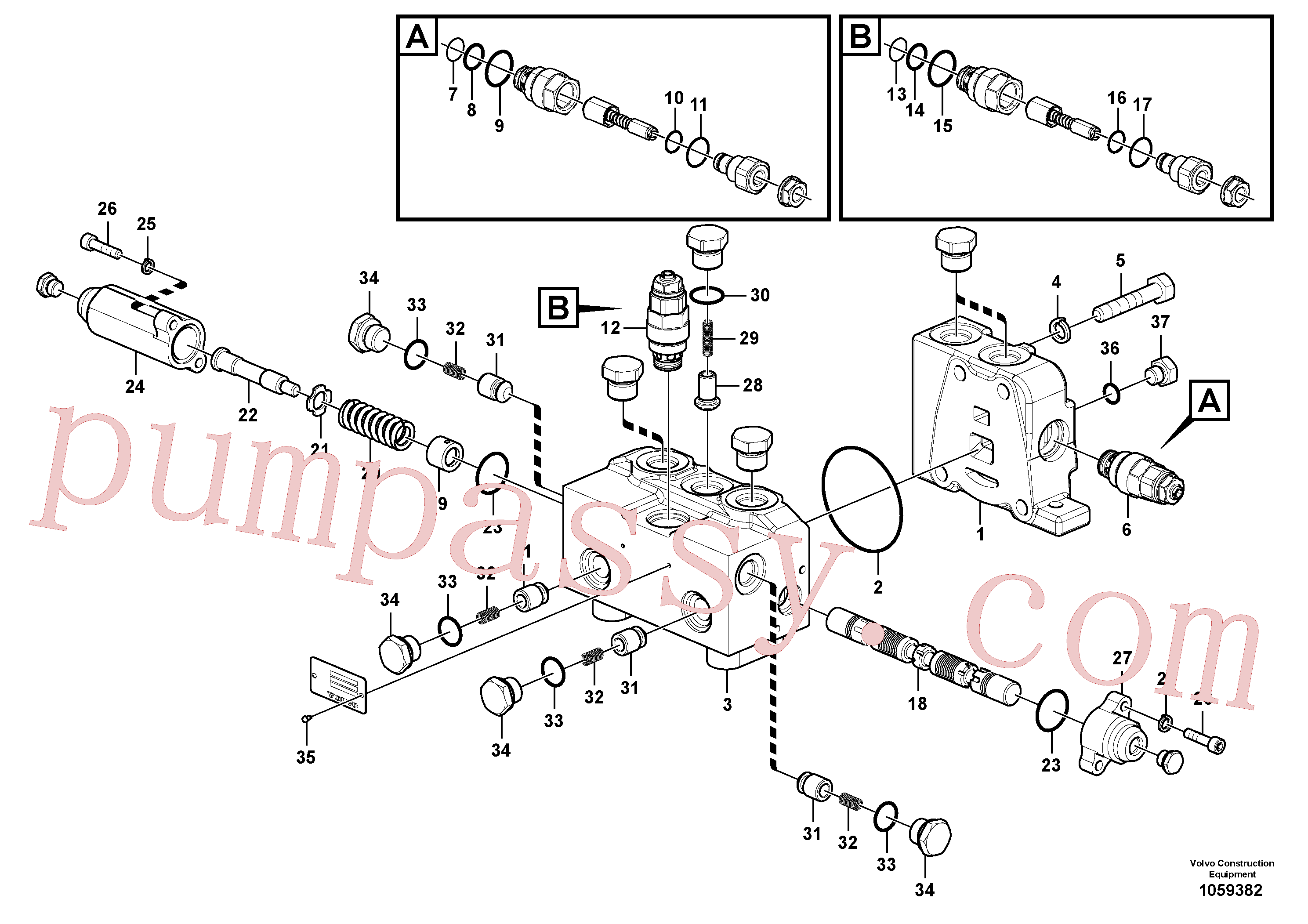 VOE14562199 for Volvo Control valve for rotator(1075839 assembly)