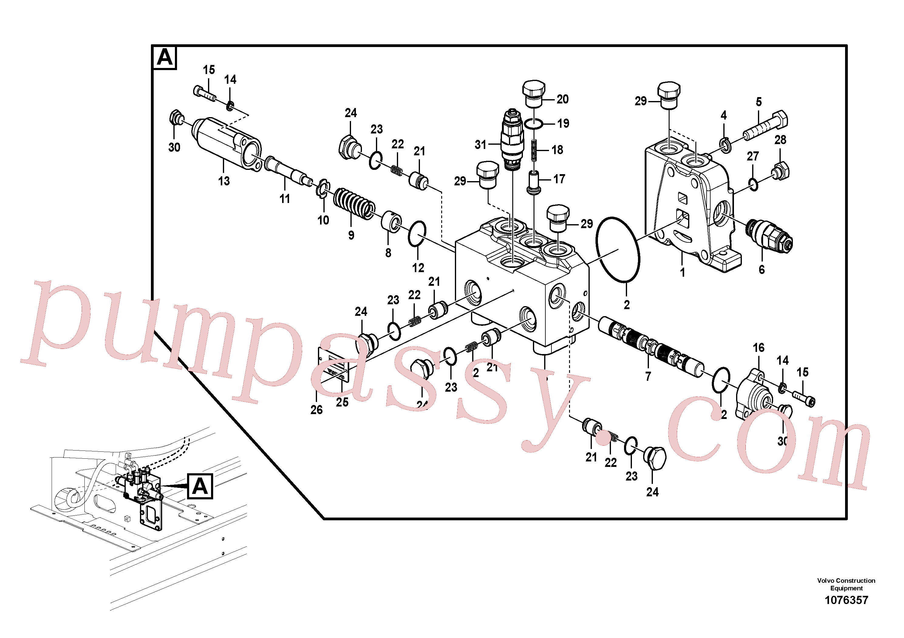 VOE14562199 for Volvo Valve, rotator(1076357 assembly)