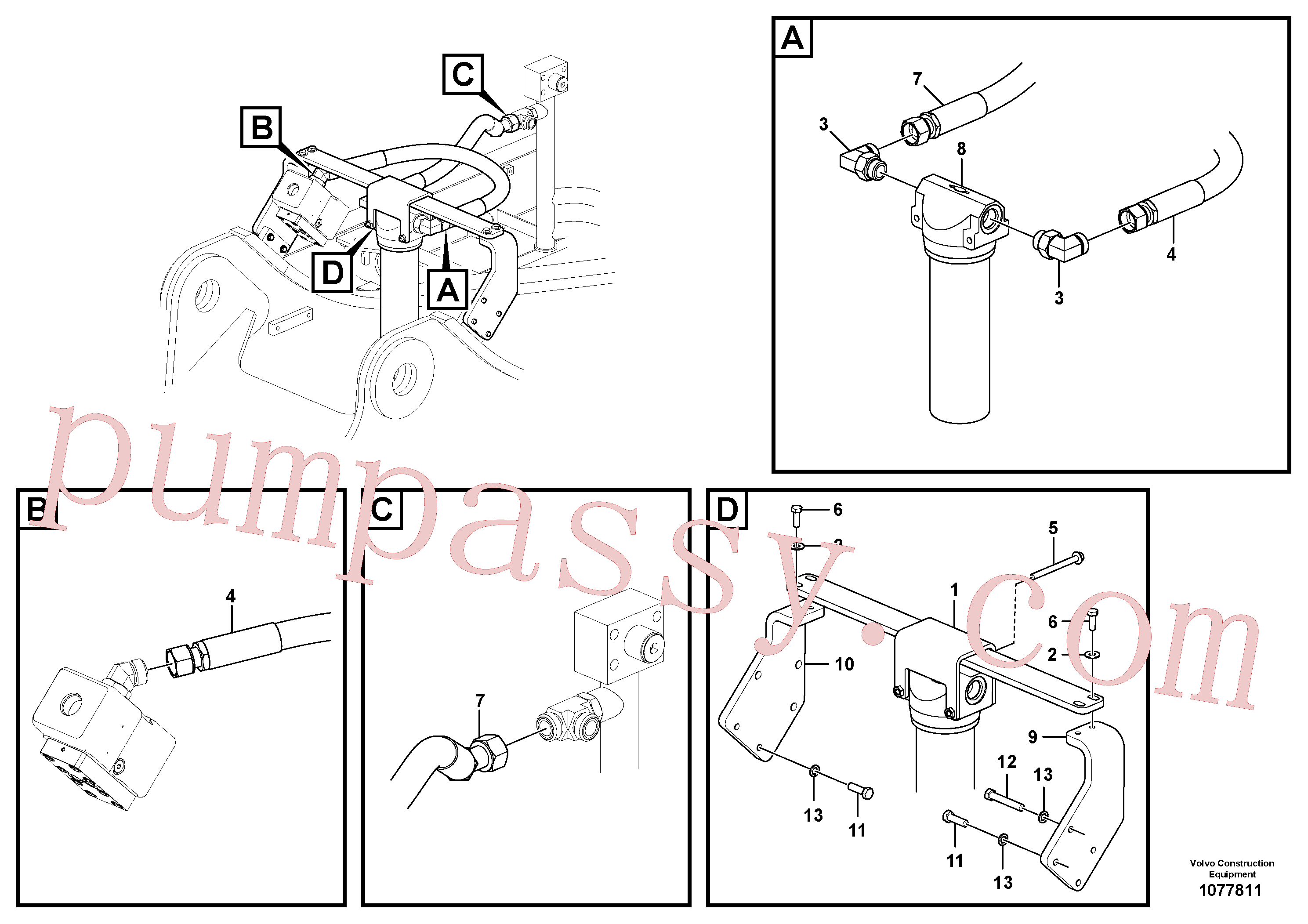 VOE991638 for Volvo Working hydraulic, hammer and shear for return filter(1077811 assembly)