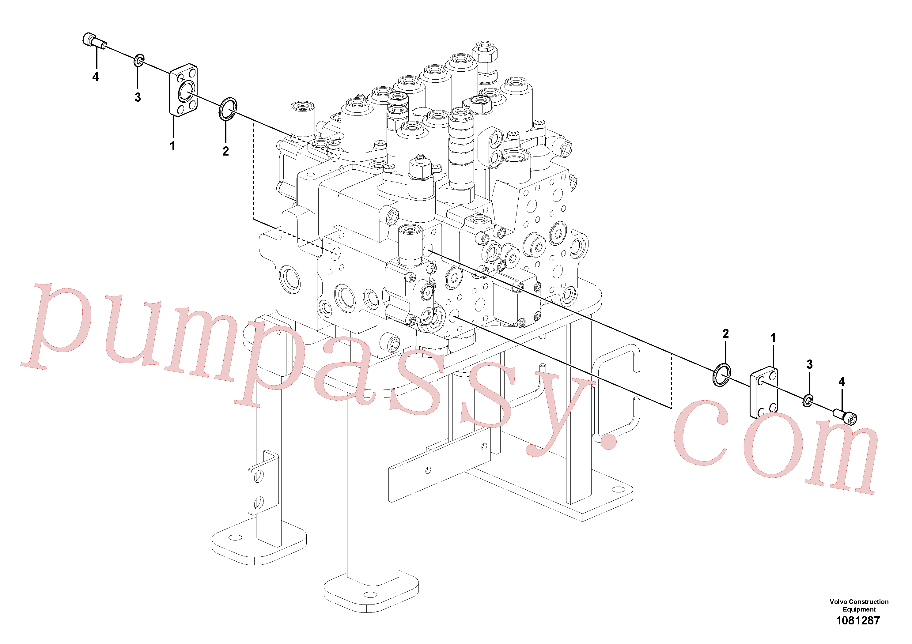 VOE14543987 for Volvo Hydraulic system, control valve to boom and swing(1081287 assembly)