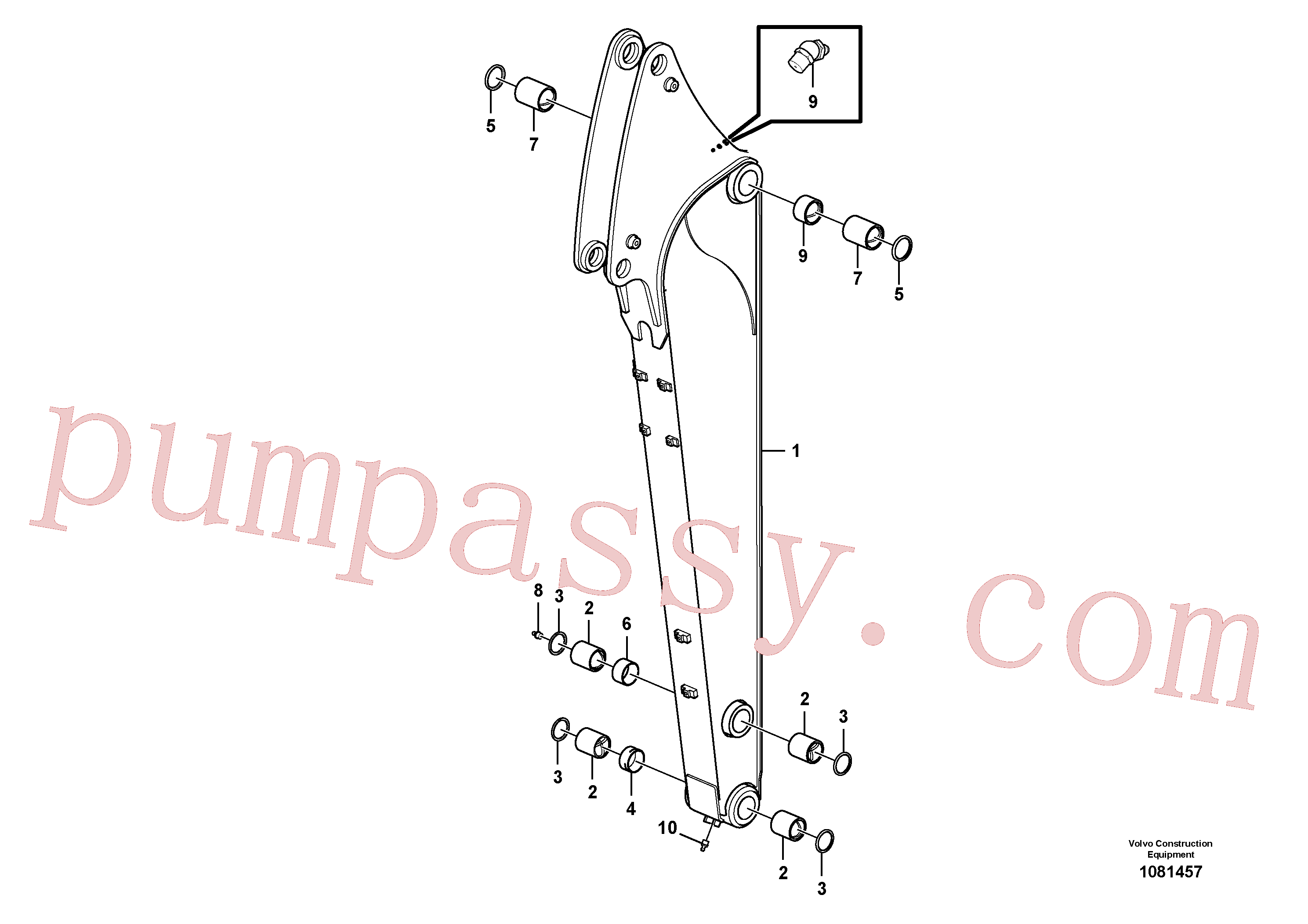 VOE13801456 for Volvo Dipper arm(1081457 assembly)
