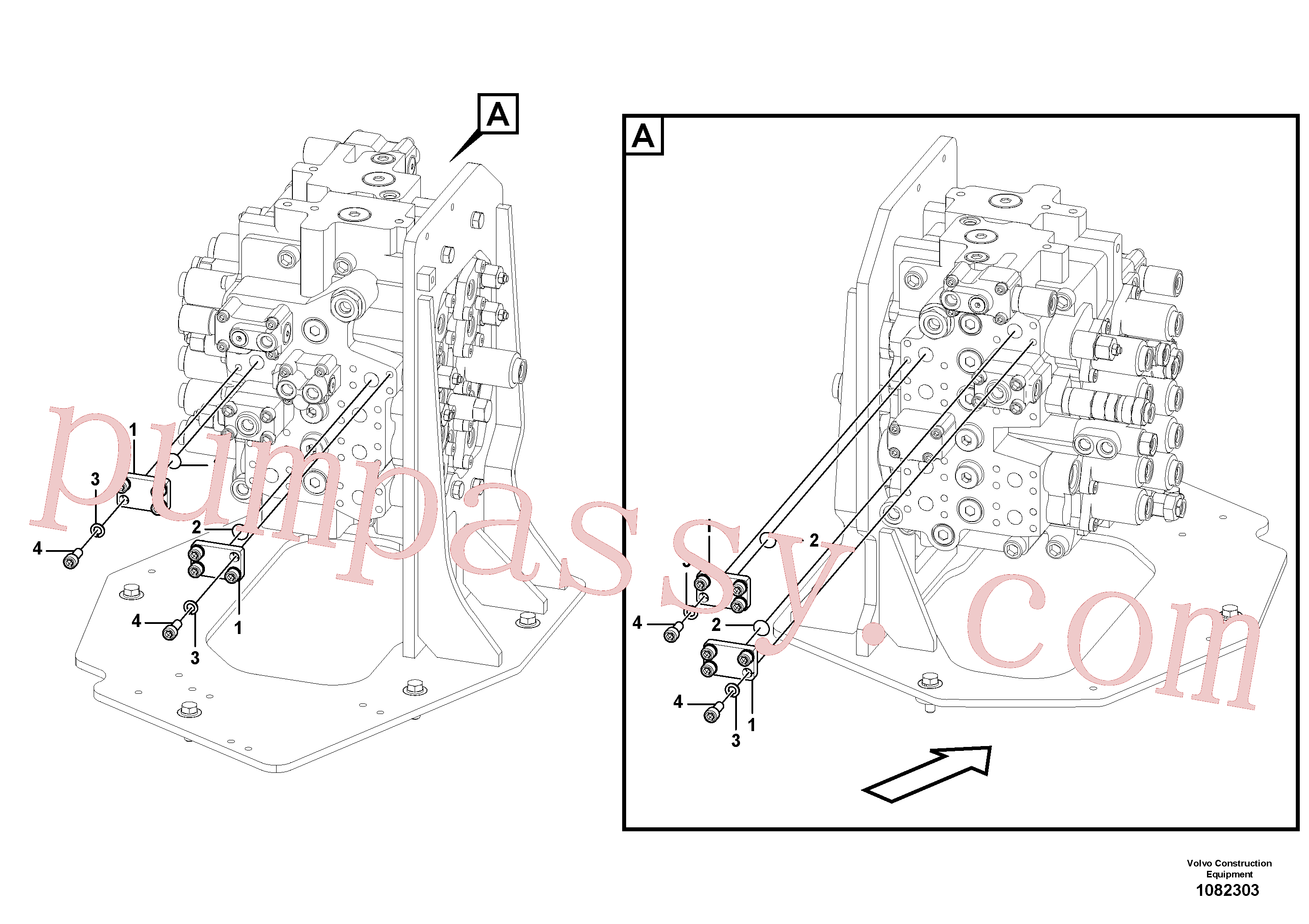 VOE14543987 for Volvo Hydraulic system, control valve to boom and swing(1082303 assembly)