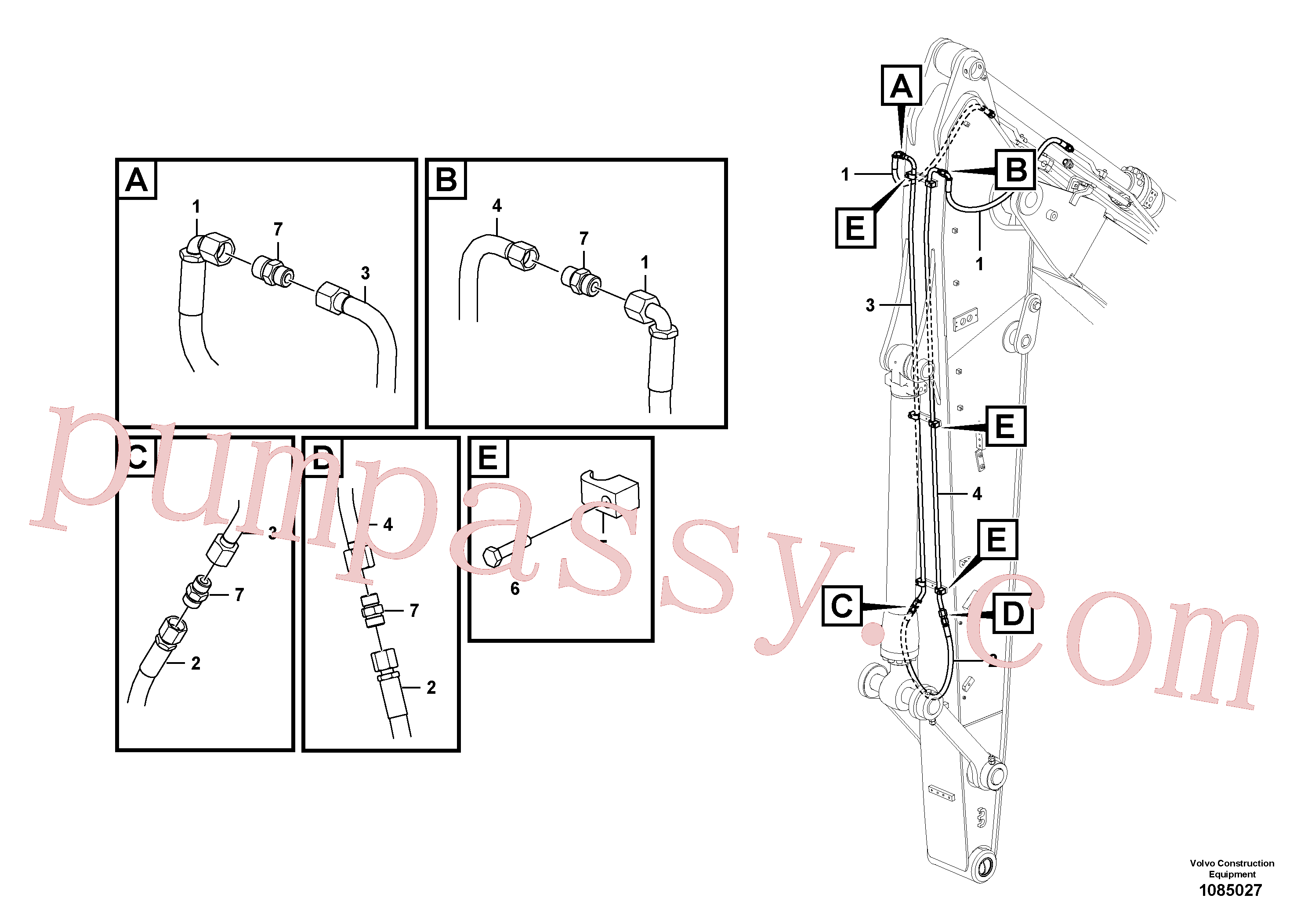 Wholesale VOE15141224 Hose assembly for Volvo Excavator