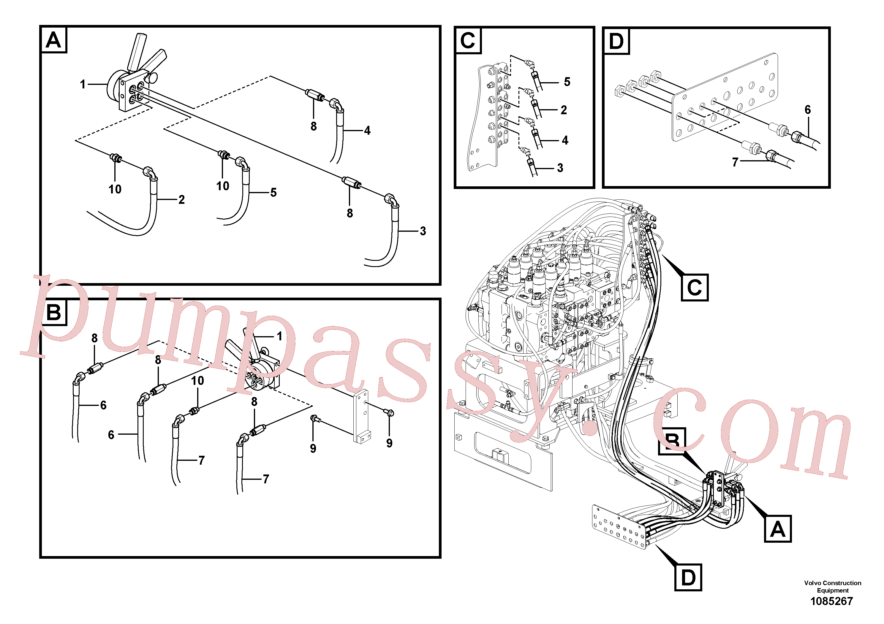 VOE937536 for Volvo Servo system, control valve to remote control valve(1085267 assembly)