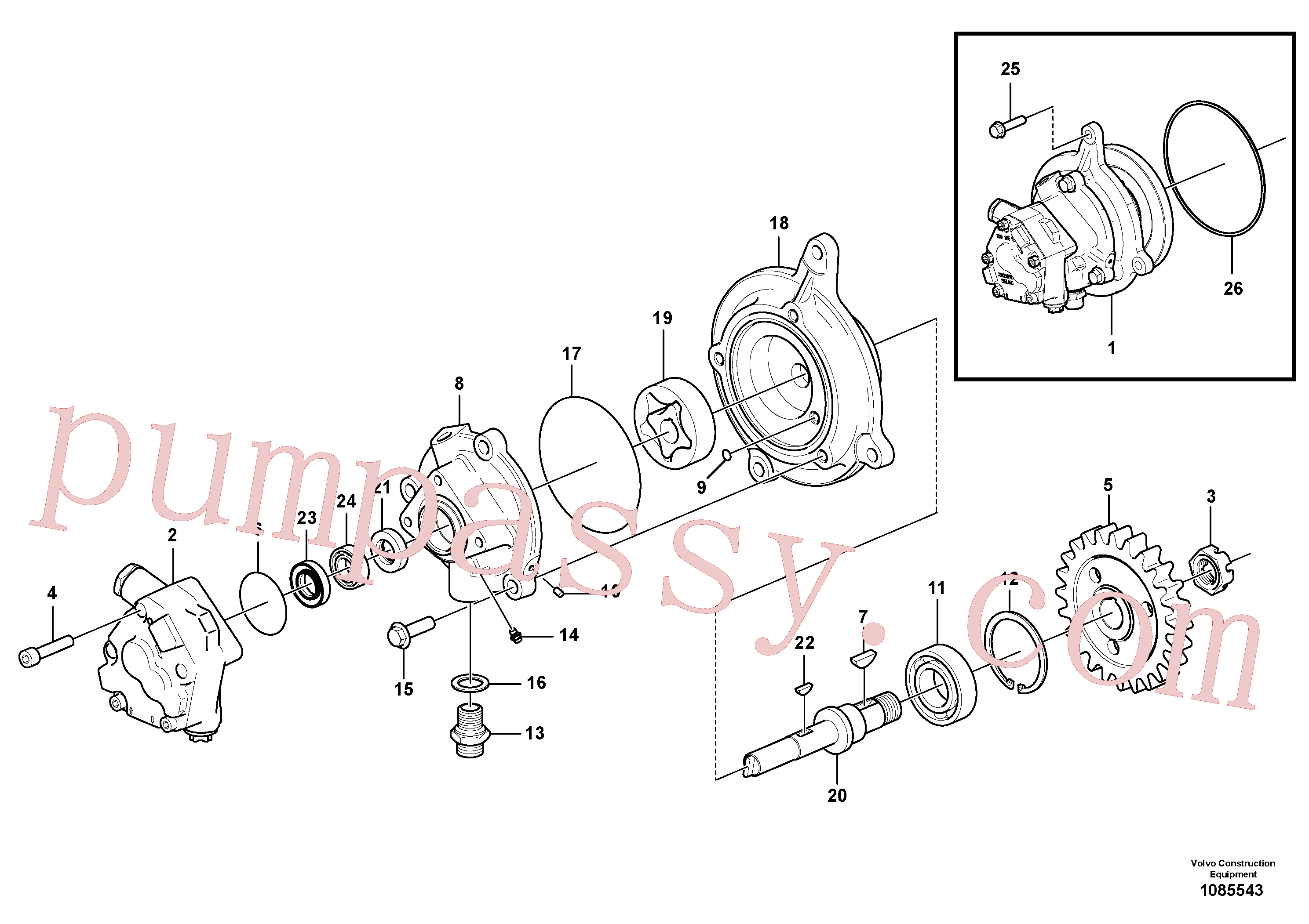 VOE948255 for Volvo Oil pump(1085543 assembly)