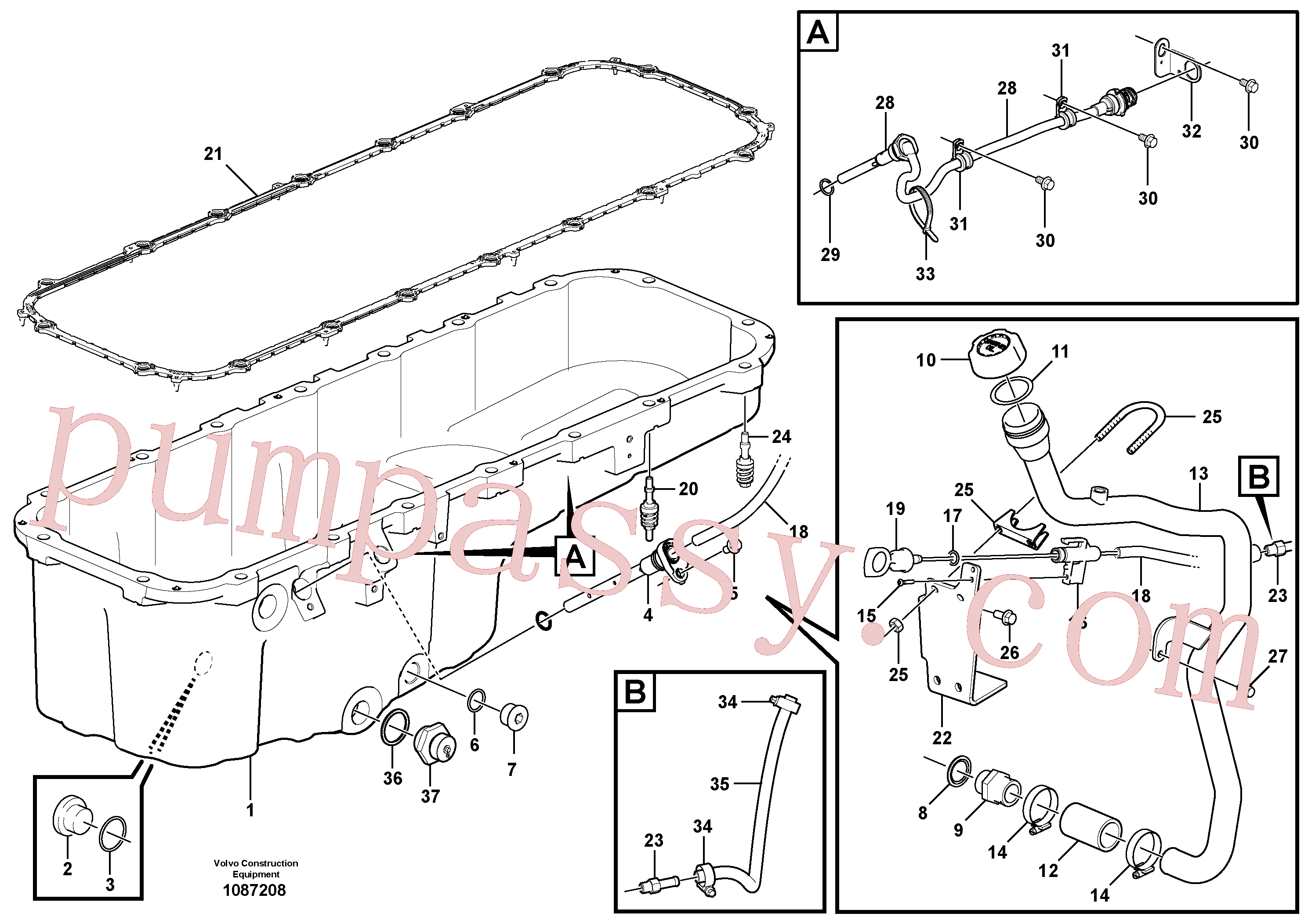 VOE948255 for Volvo Oil sump(1087208 assembly)