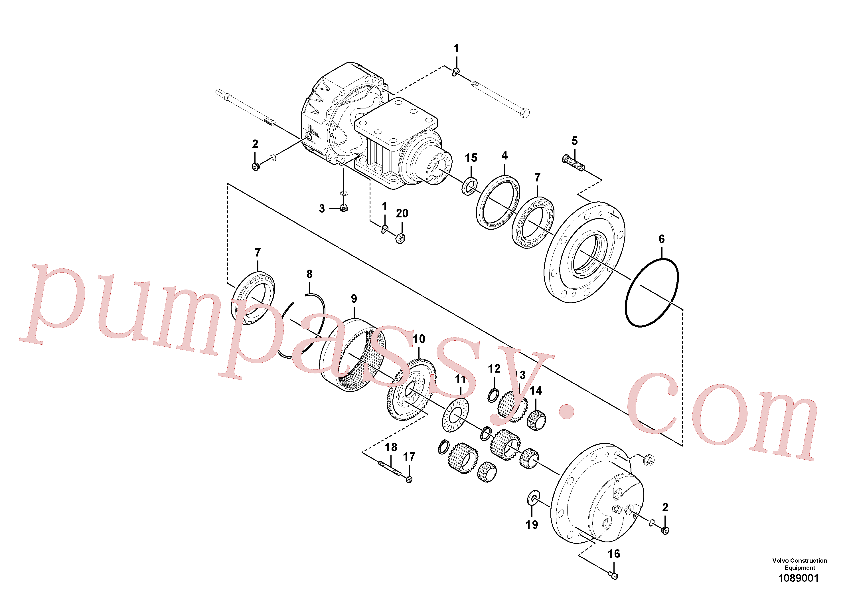 RM59153601 for Volvo Rear axle, Hub reduction(1089001 assembly)