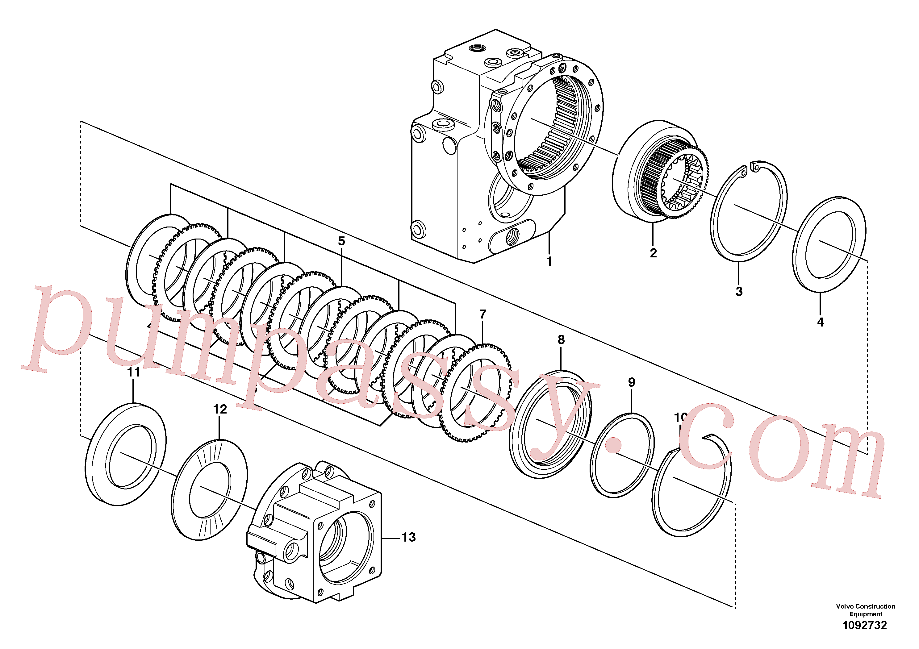 SA8220-02440 for Volvo Dropbox, Brake plates(1092732 assembly)