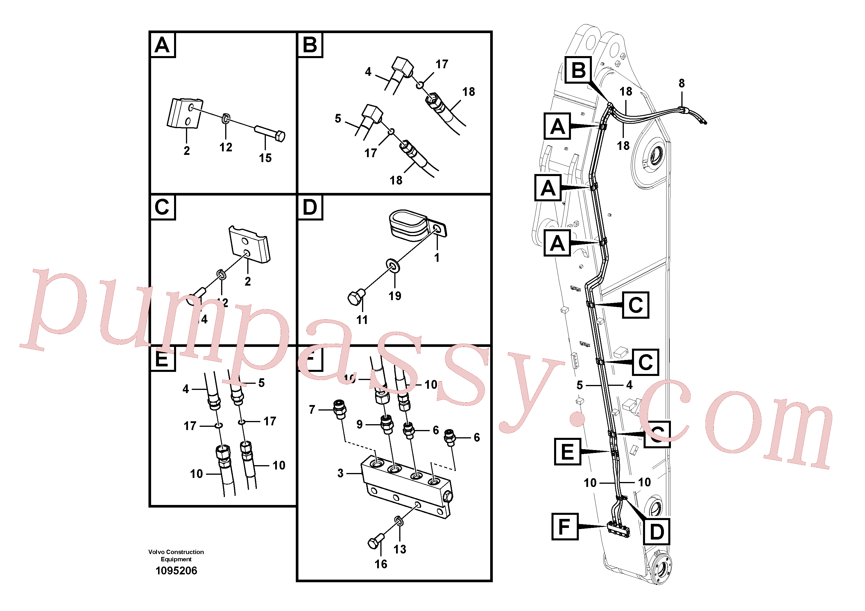 VOE14677987 for Volvo Working hydraulic, quick fit on dipper arm(1095206 assembly)