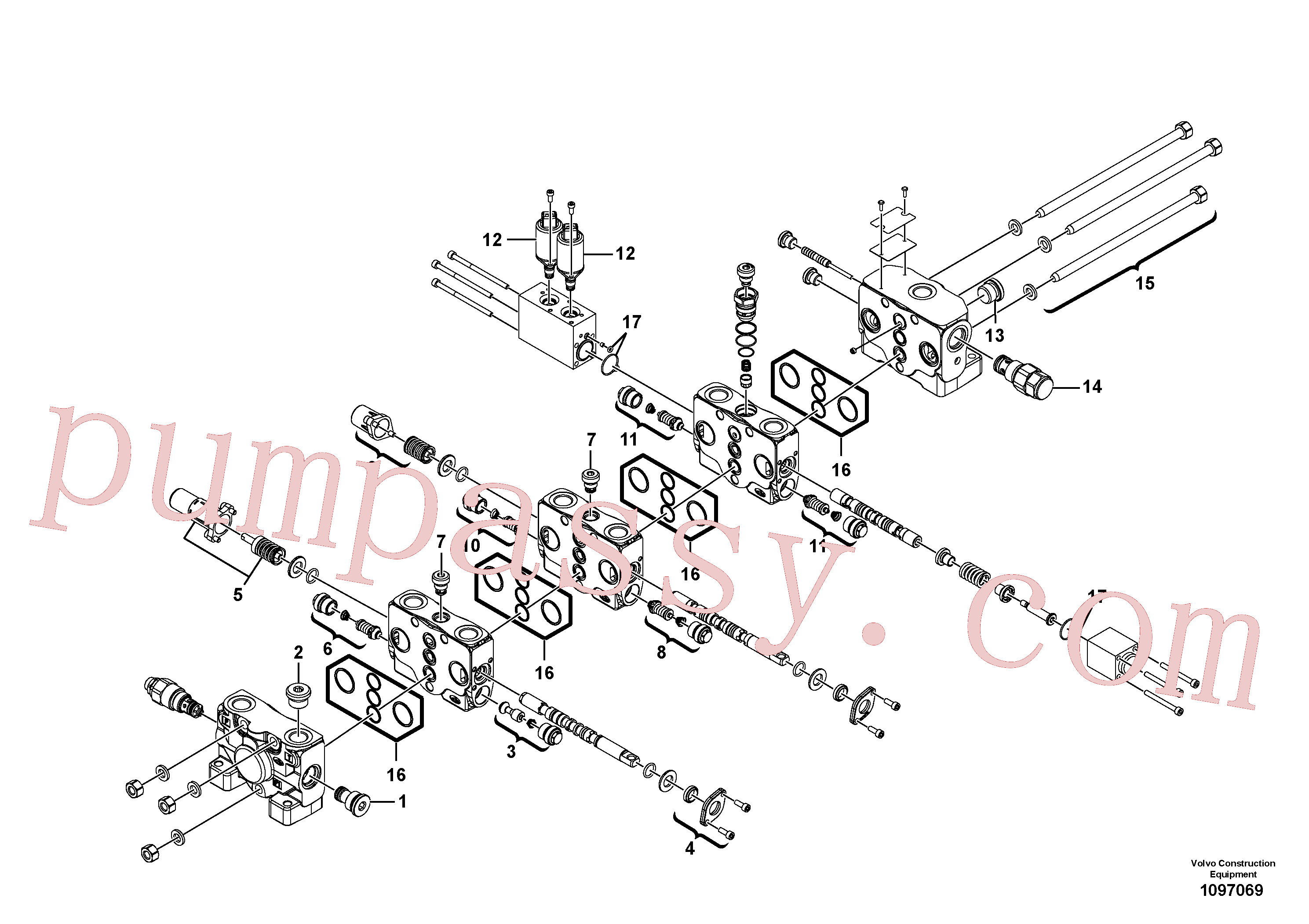VOE11370784 for Volvo Control valve(1097069 assembly)
