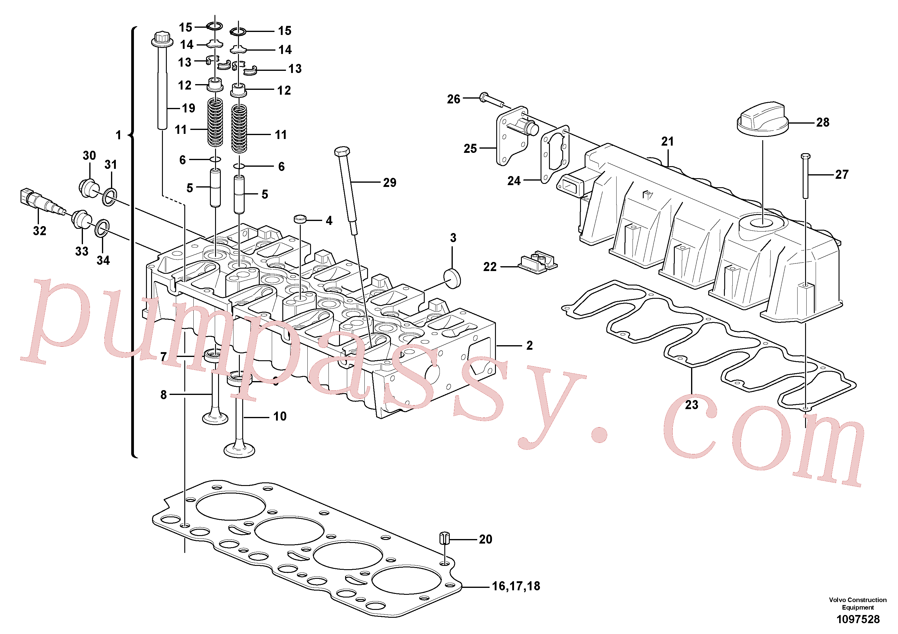 ZM8099416 for Volvo Cylinder head(1097528 assembly)