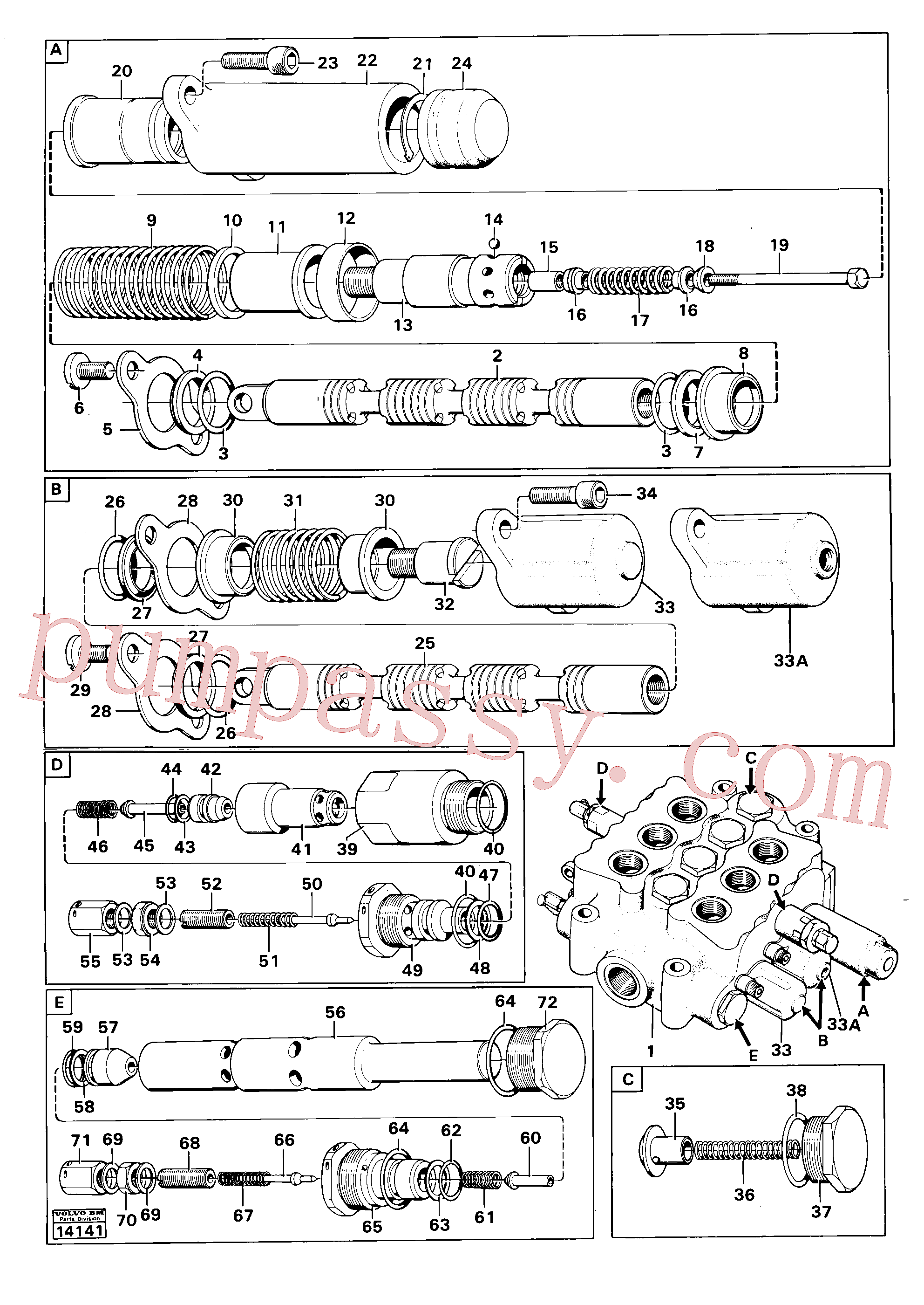VOE956584 for Volvo Control valve.(14141 assembly)