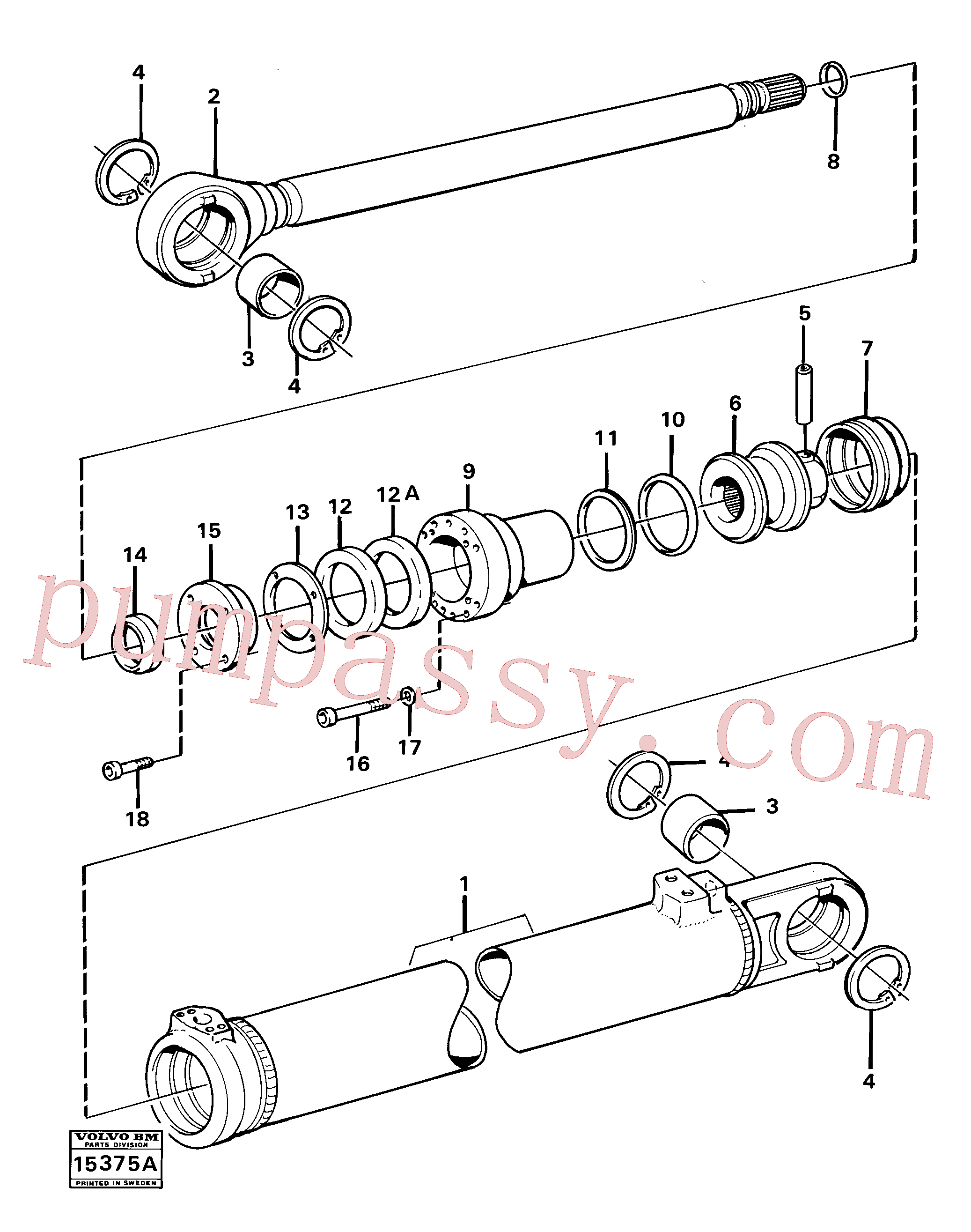 VOE4782854 for Volvo Hydraulic cylinder tilting(15375A assembly)