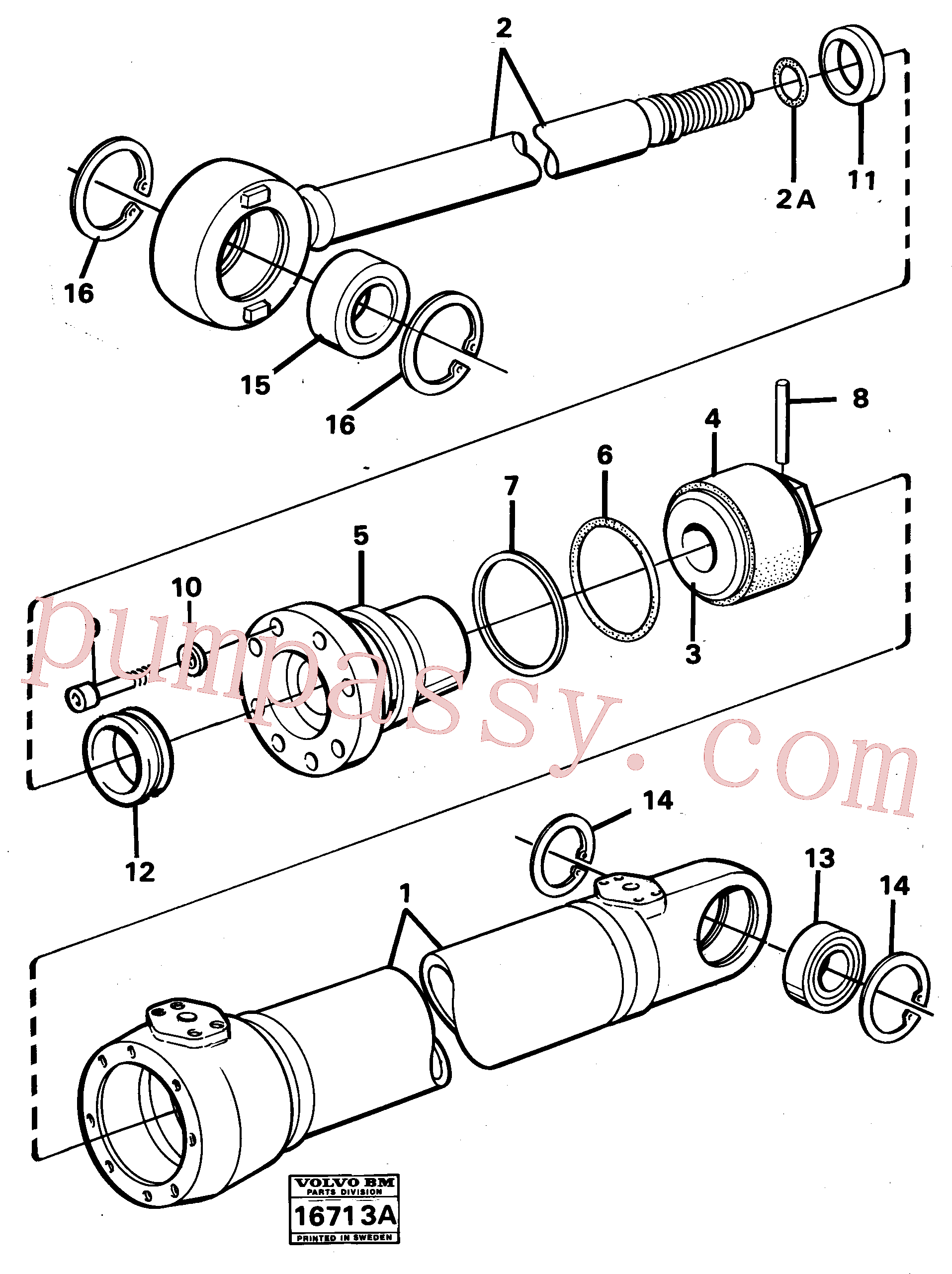 VOE4782854 for Volvo Hydraulic cylinder(16713A assembly)