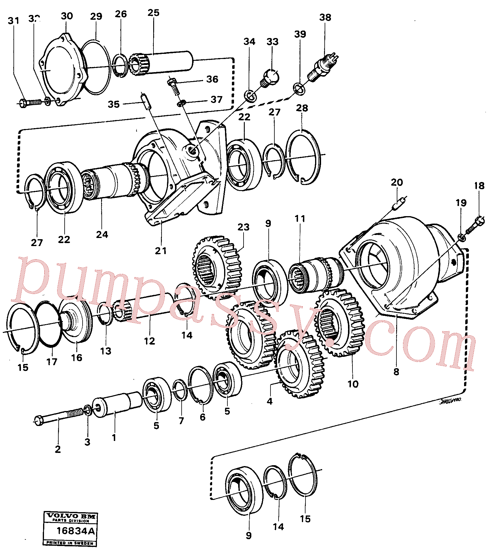 VOE4871043 for Volvo Charging oil-pump drive ht 4526-5320, Charging oil-pump drive (ht 130) Ht-1906(16834A assembly)