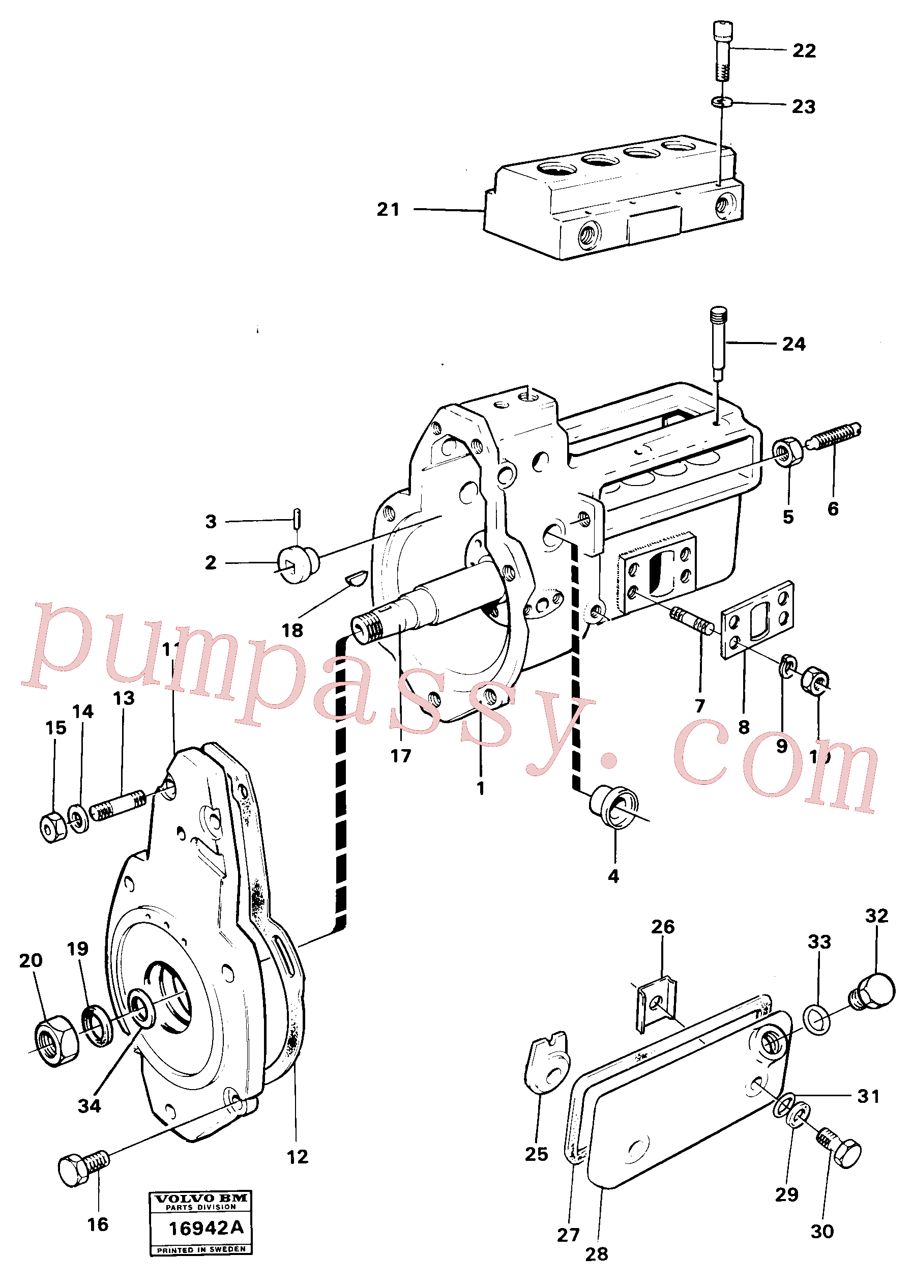VOE13956545 for Volvo Fuel injection pump cmpl Prod Nr 16303,16304, Fuel injection pump cmpl Mo 52512-59882(16942A assembly)