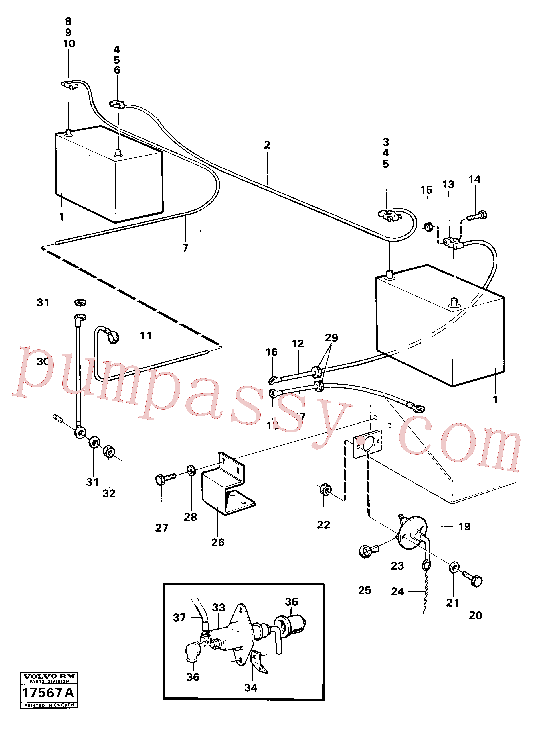 VOE941906 for Volvo Battery with assembling details(17567A assembly)