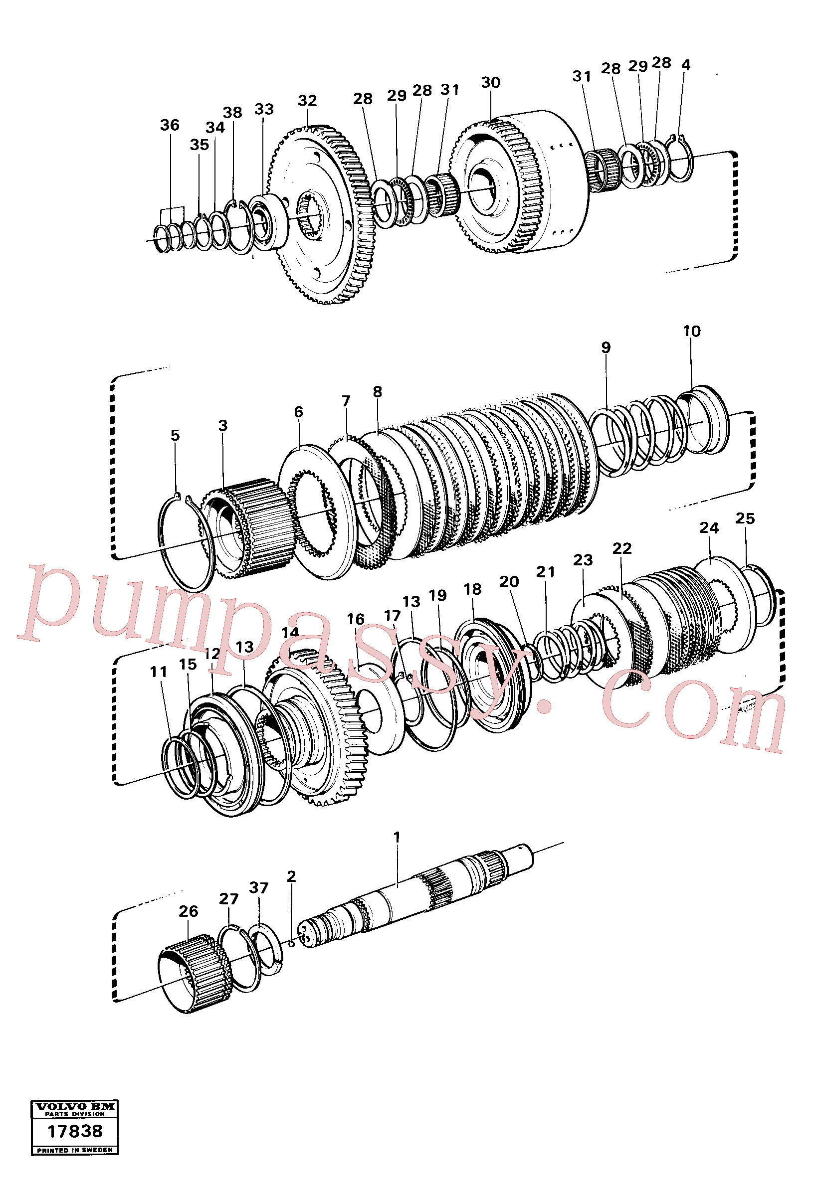 VOE11037057 for Volvo Clutches reverse/2nd speeds, Hydraulic clutch reverse / 2nd speeds.(17838 assembly)