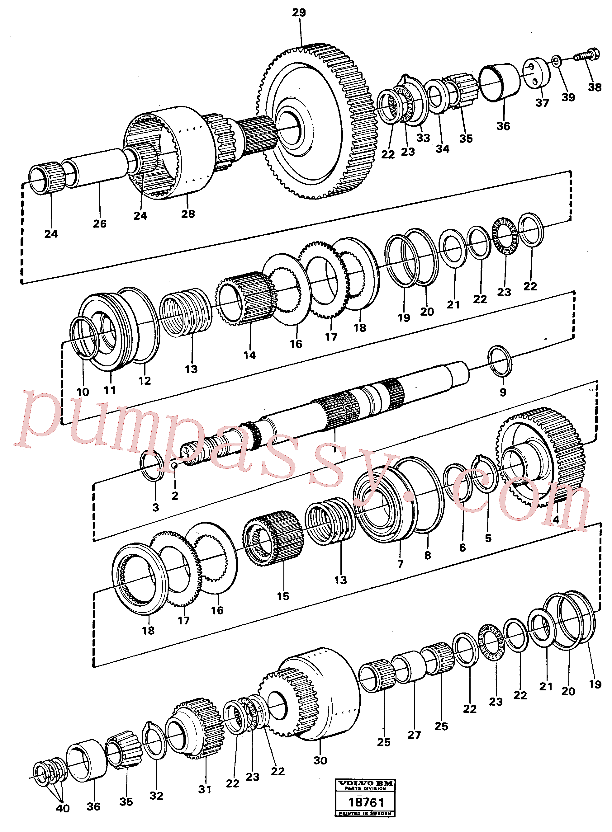 VOE11037138 for Volvo Hydraulic clutch forward/3:rd speeds., Hydraulic clutch, forward/3:rd speeds.(18761 assembly)