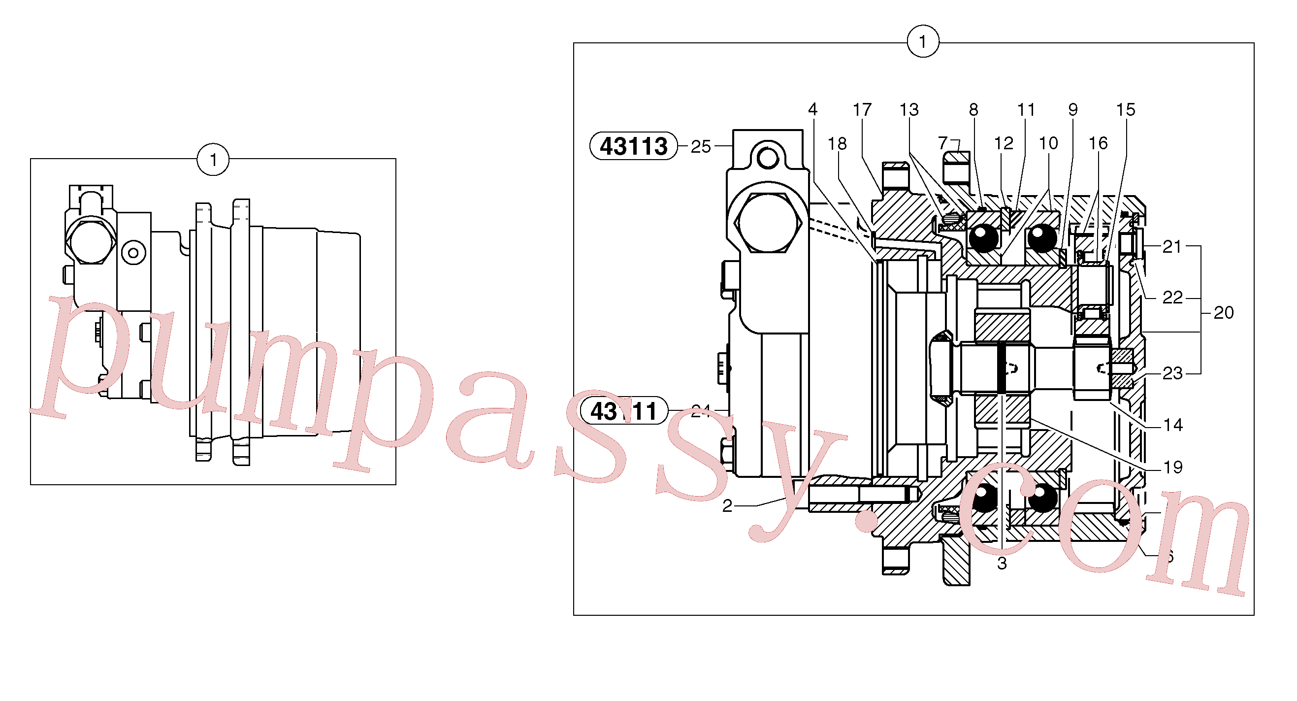 PJ7415970 for Volvo Travelling gear motor assy / without brake(4311X1 assembly)