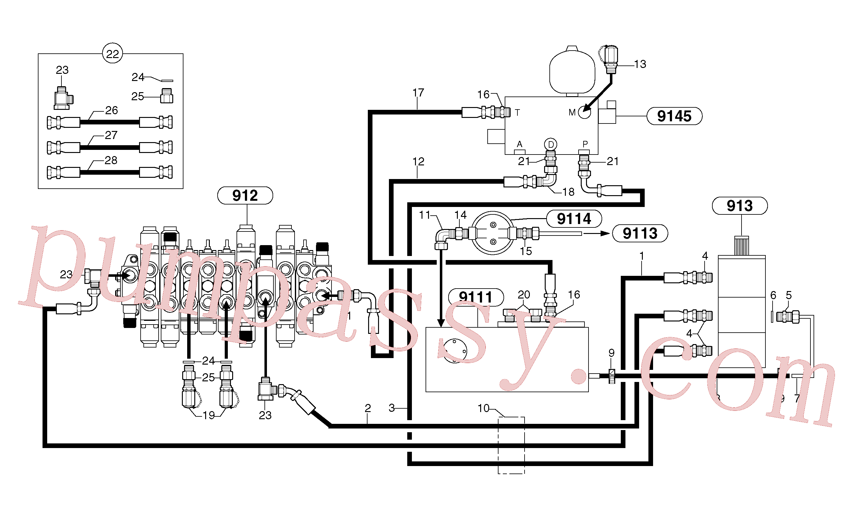 PJ4740033 for Volvo Attachments supply and return circuit(9112X1 assembly)