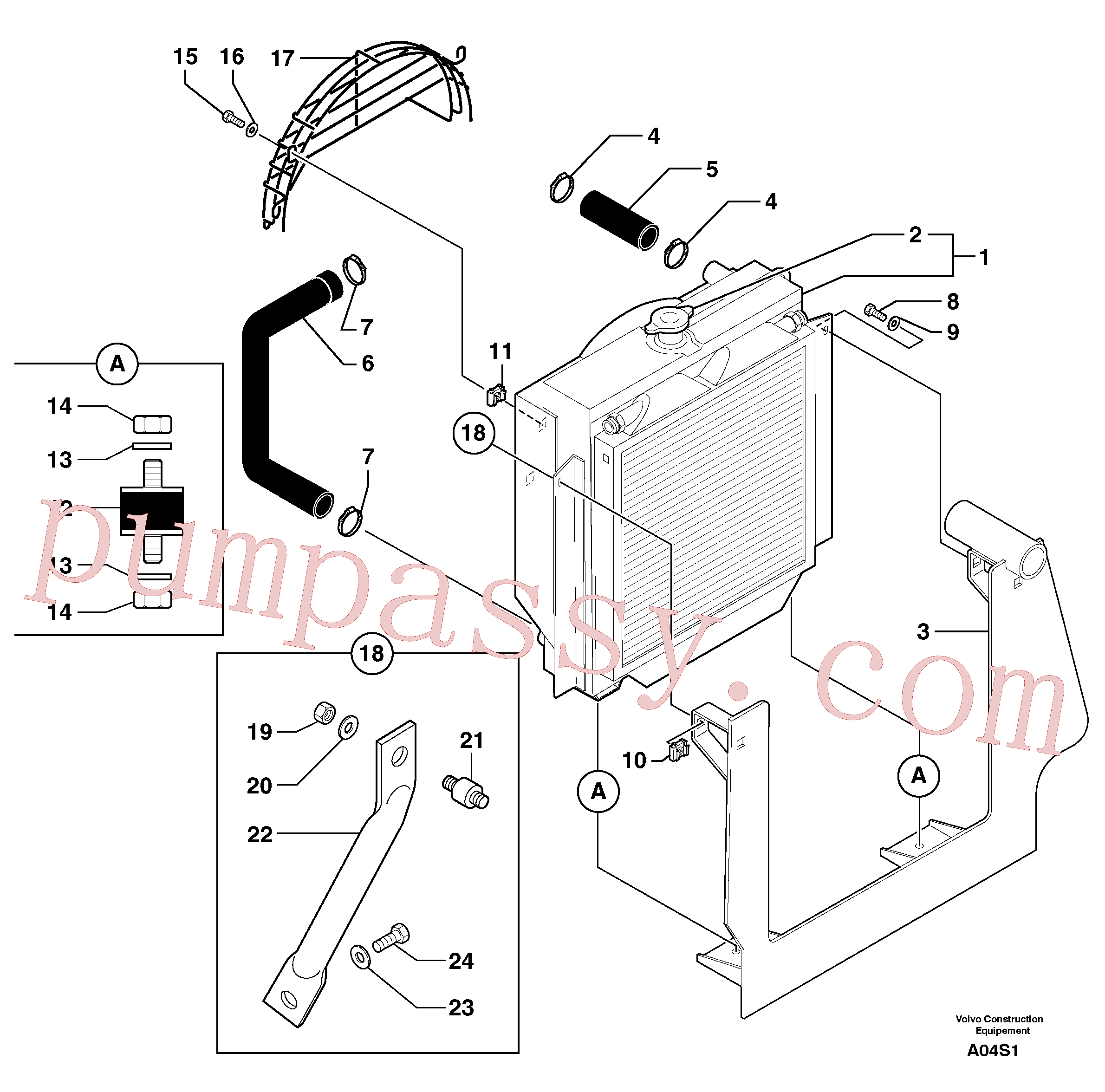 PJ7416016 for Volvo Radiator ( water ) / oil cooler(A04S1 assembly)