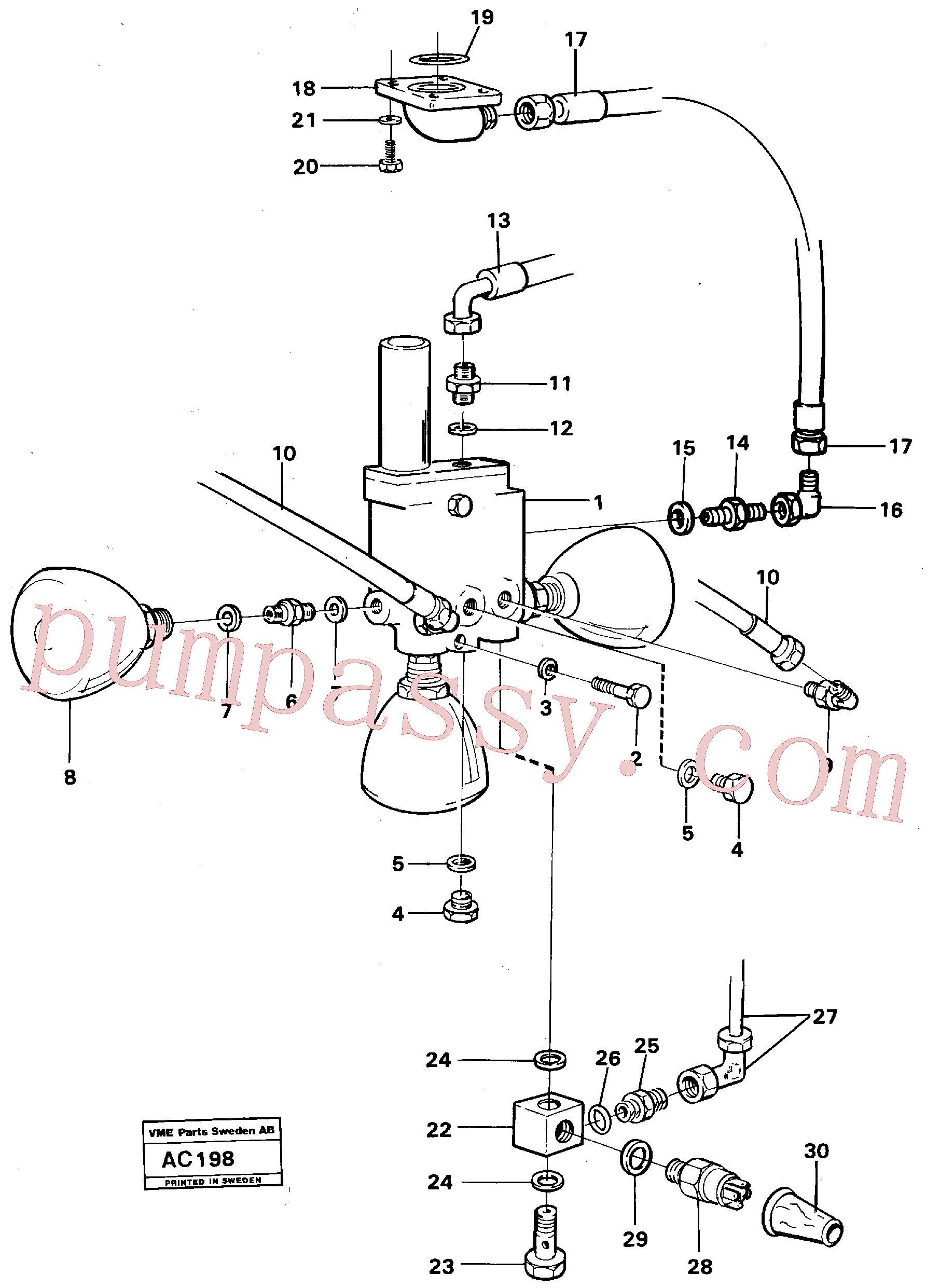 VOE192639 for Volvo Valve with fitting parts(AC198 assembly)
