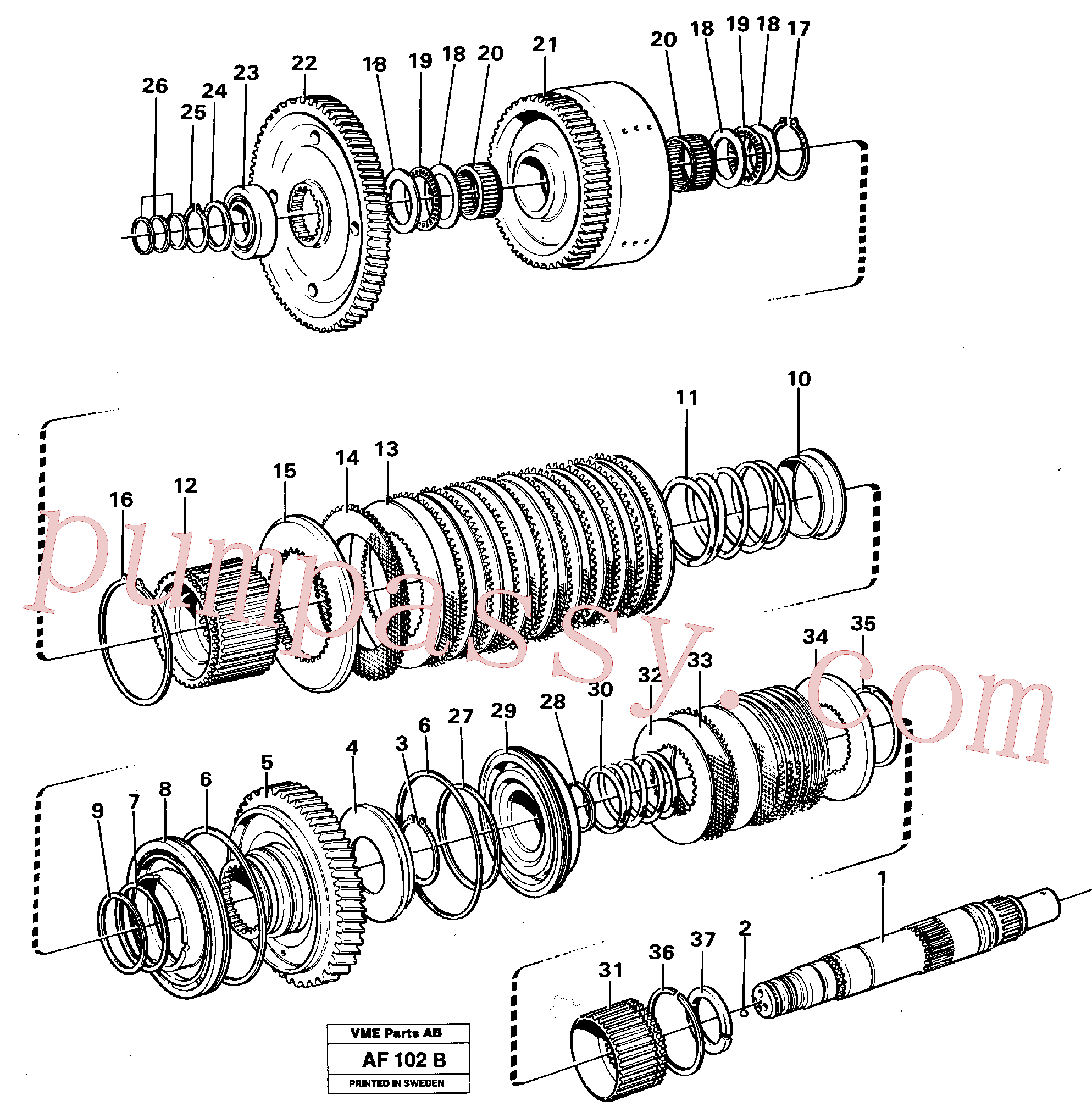 VOE11037057 for Volvo Hydraulic clutch, reverse / 2nd speed(AF102B assembly)