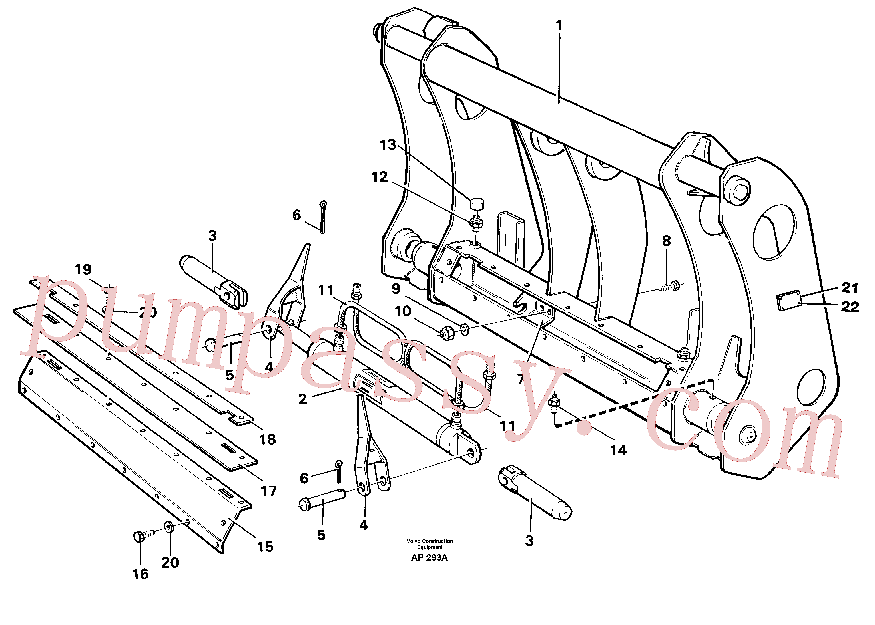 VOE11045750 for Volvo Tool bar., Attachment bracket(AP293A assembly)
