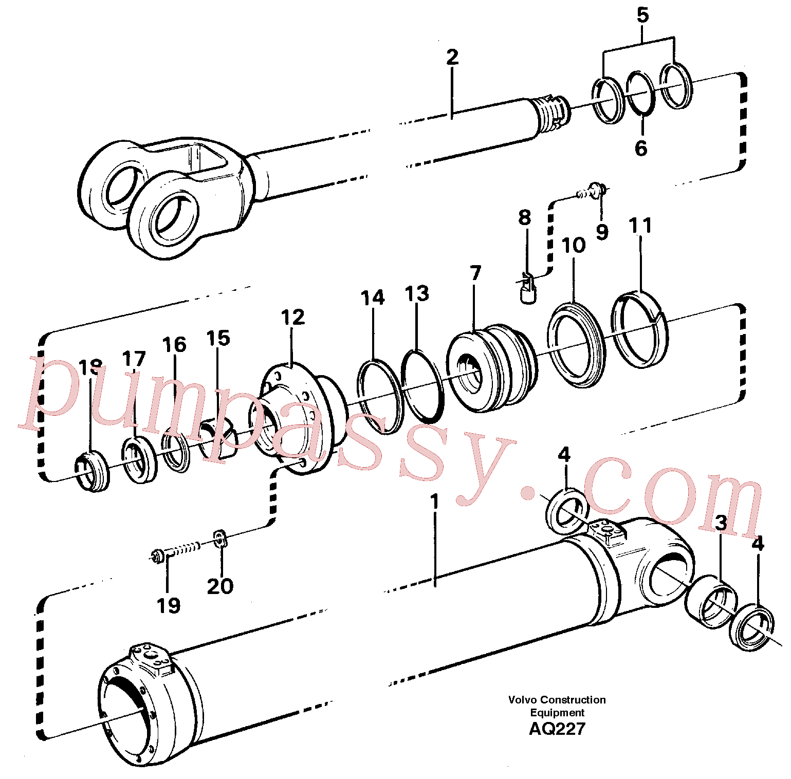 VOE11005471 for Volvo Hydraulic cylinder Lifting(AQ227 assembly)