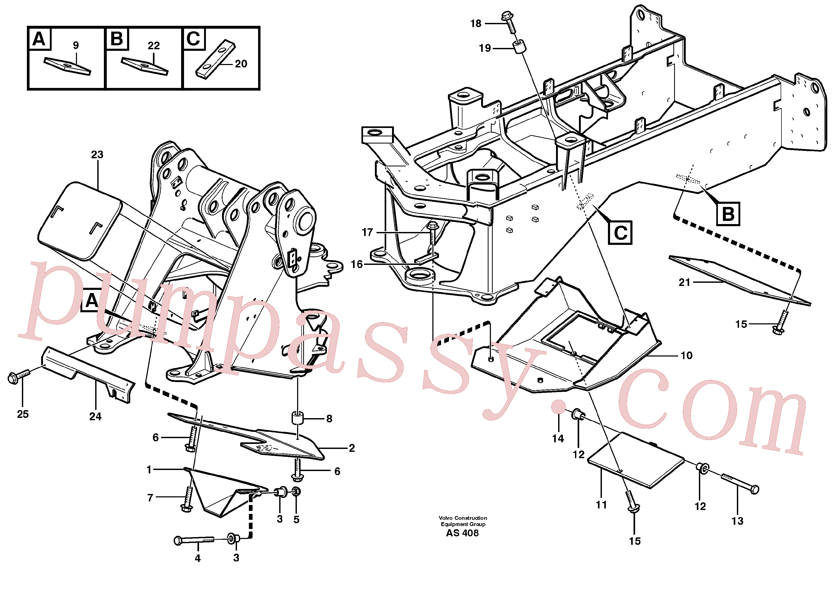 VOE949708 for Volvo Belly guard, front(AS408 assembly)