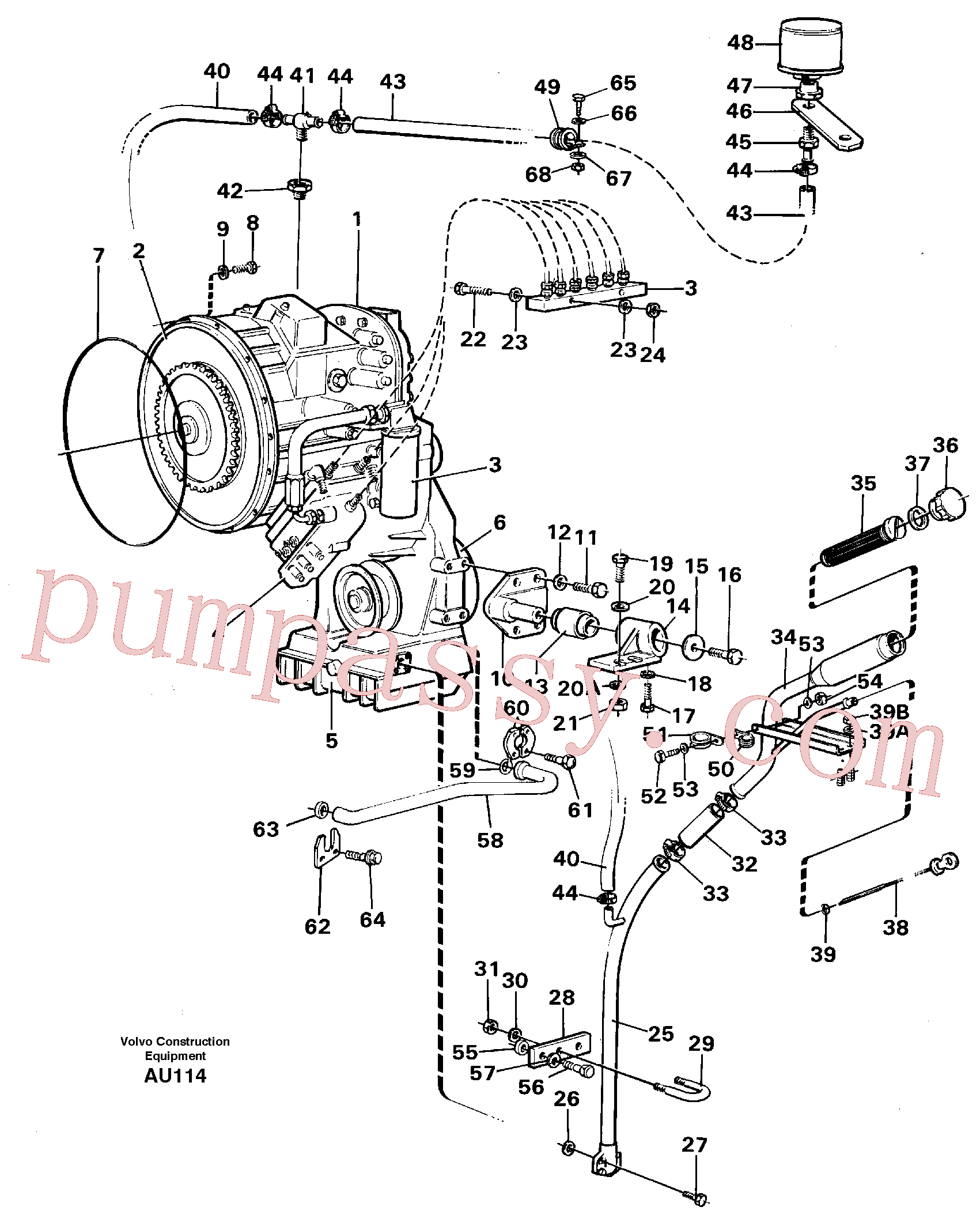 VOE11031769 for Volvo Hydraulic transmission with fitting parts(AU114 assembly)