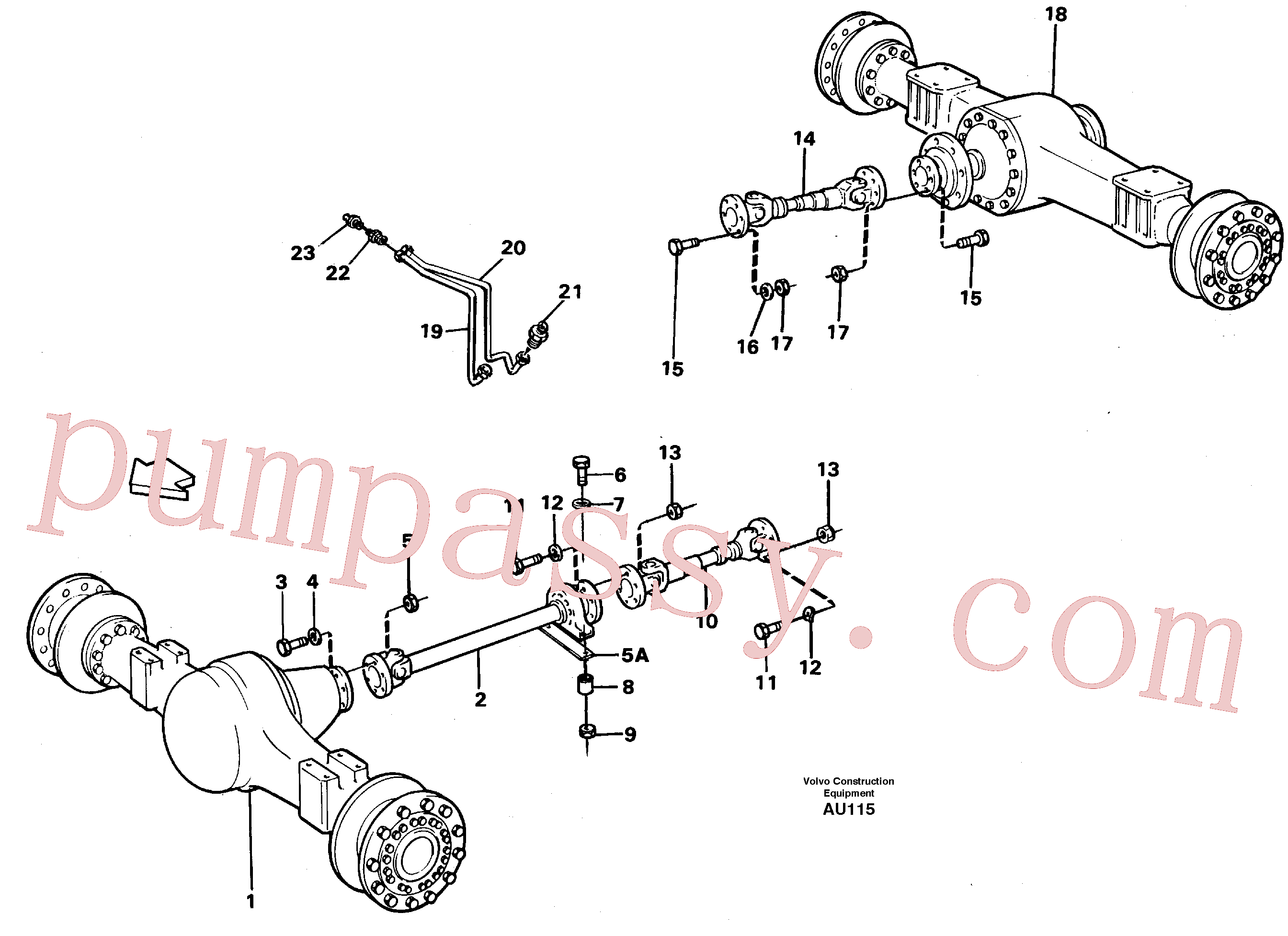 VOE4854494 for Volvo Propeller shafts with fitting parts(AU115 assembly)