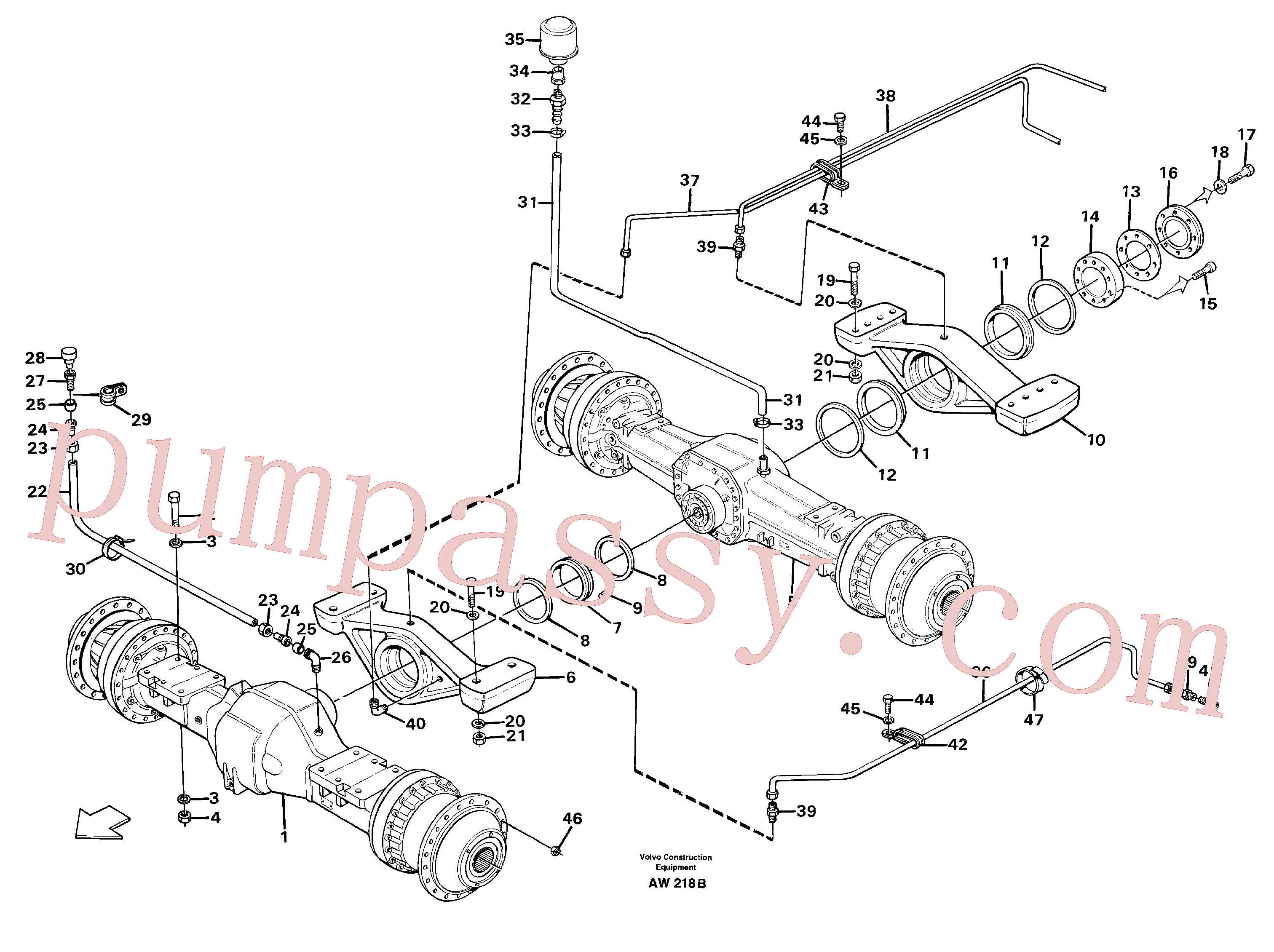 VOE13801456 for Volvo Planet shafts with fitting parts(AW218B assembly)