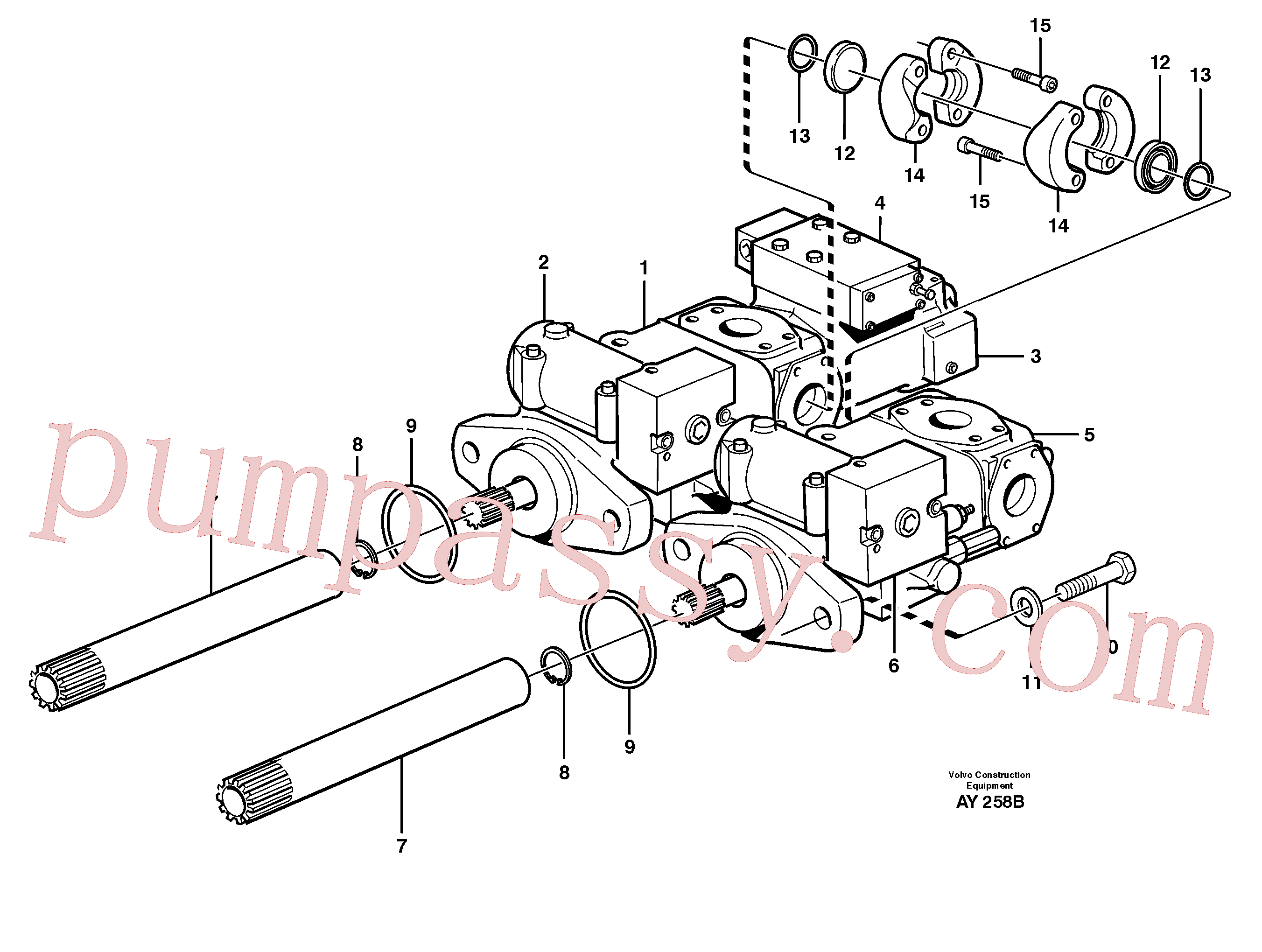 VOE11709023 for Volvo Hydraulic pump with fitting parts(AY258B assembly)