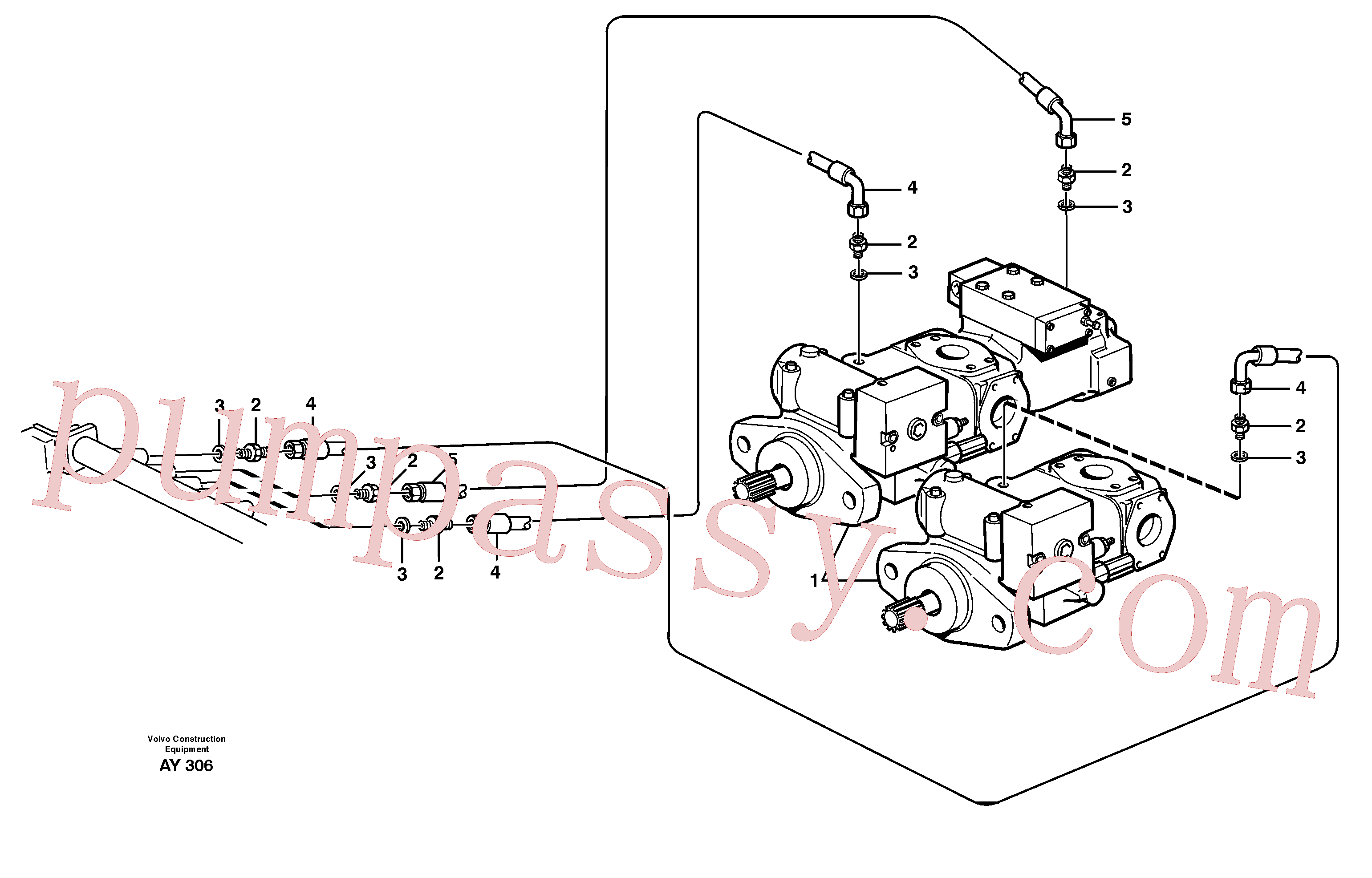 VOE11163029 for Volvo Hydraulic system, leak-off line from pump to tank(AY306 assembly)