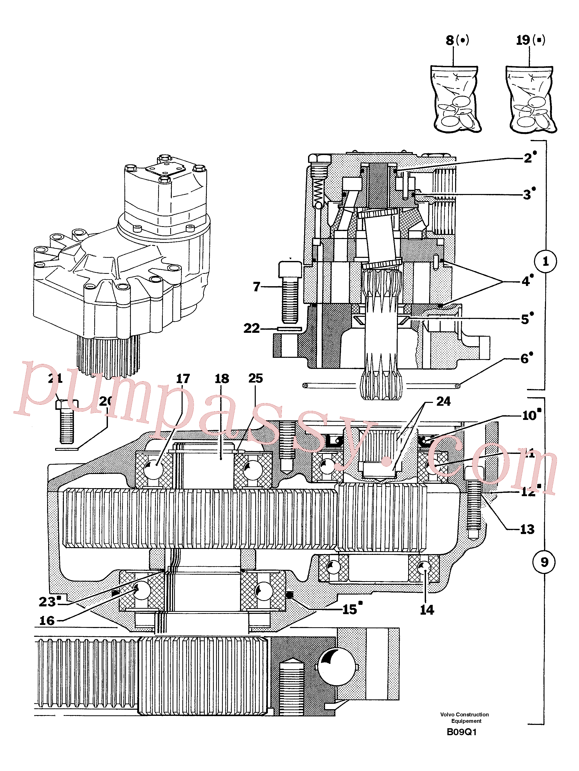 PJ4040021 for Volvo Slewing gear motor(B09Q1 assembly)