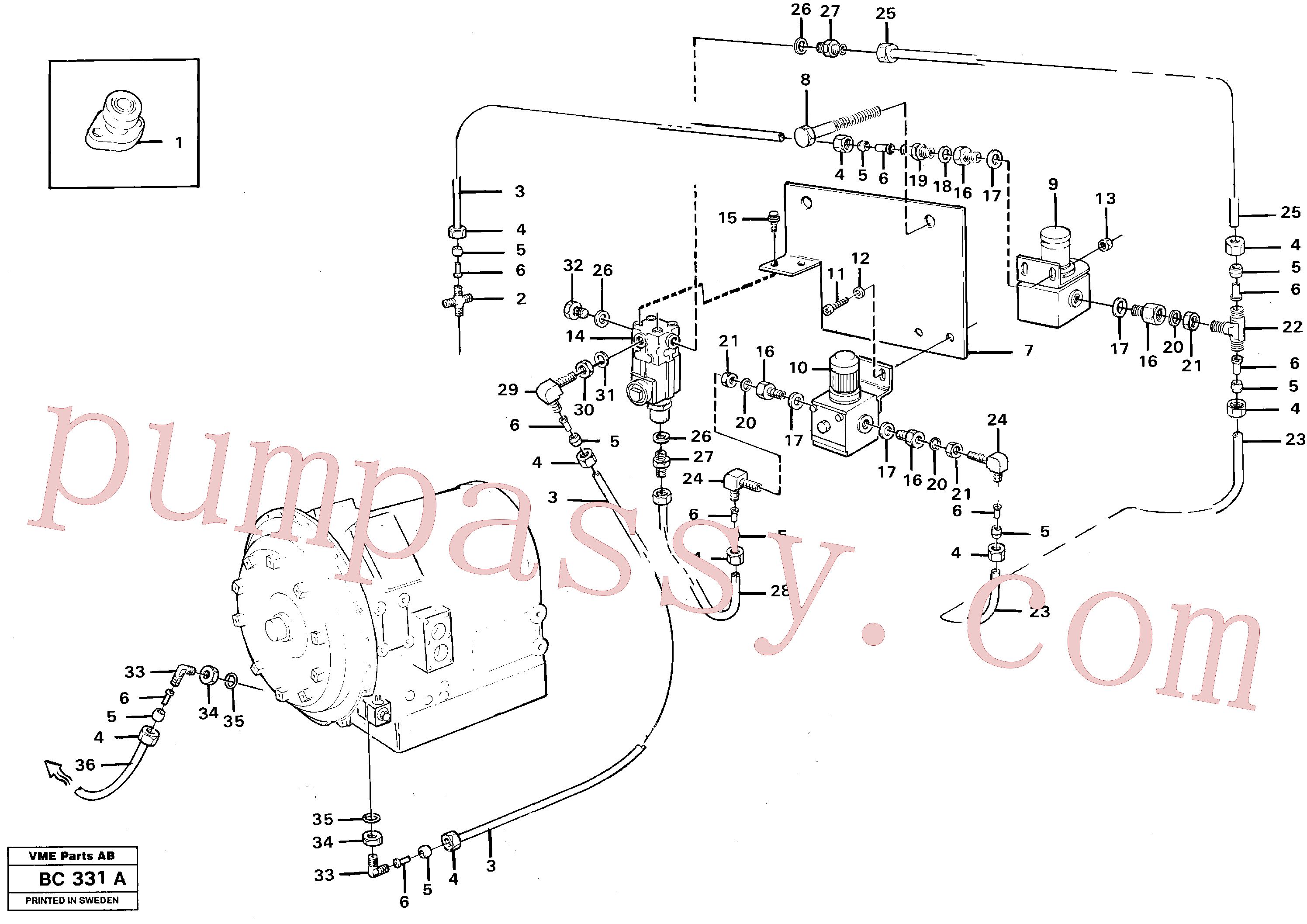 VOE945915 for Volvo Air valve, retarder(BC331A assembly)