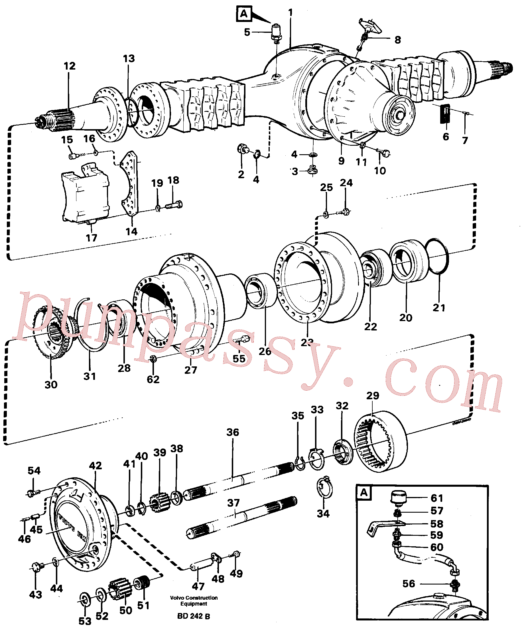 RM96701800 for Volvo Planet shaft(BD242B assembly)