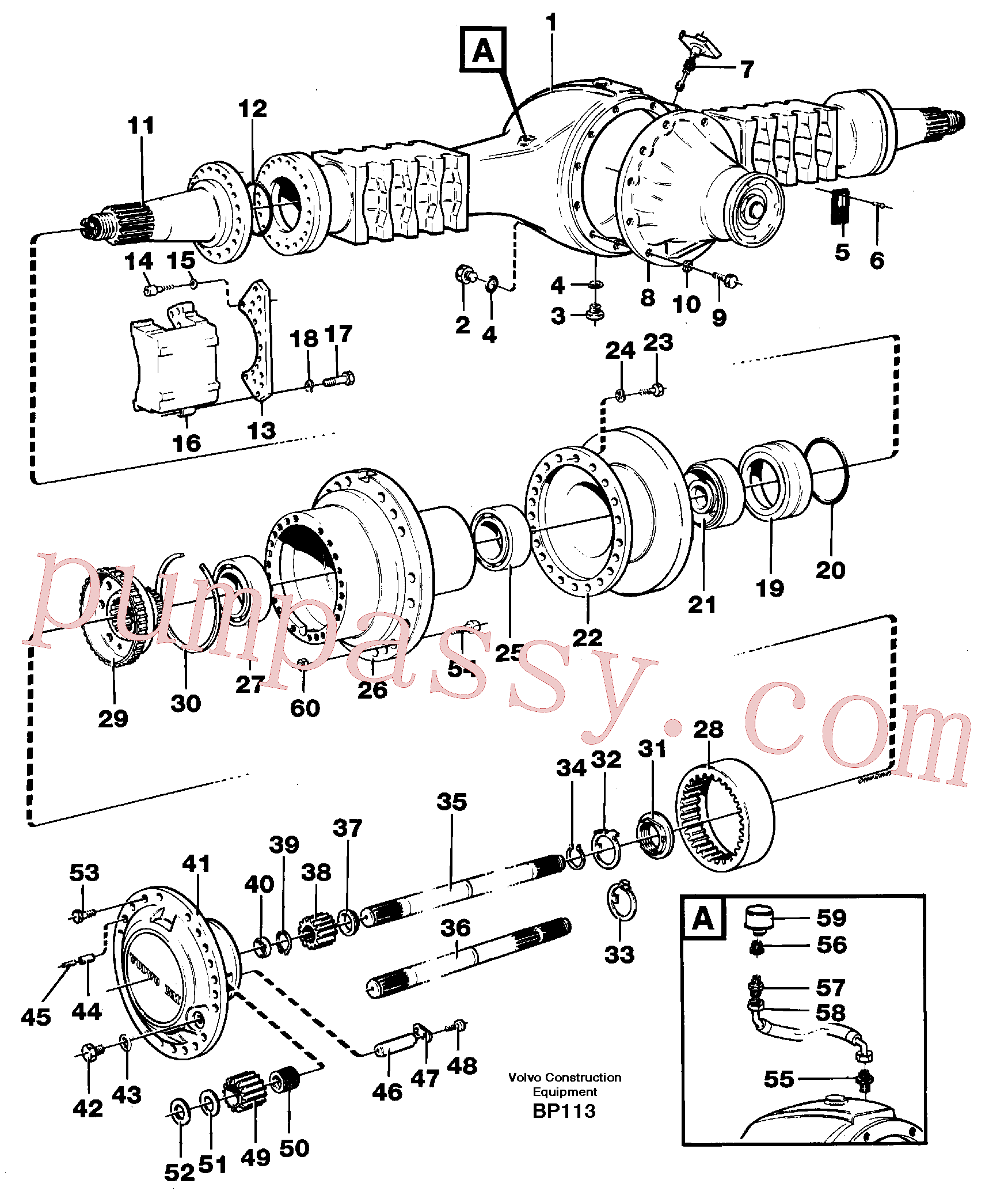 VOE951990 for Volvo Planet shaft(BP113 assembly)