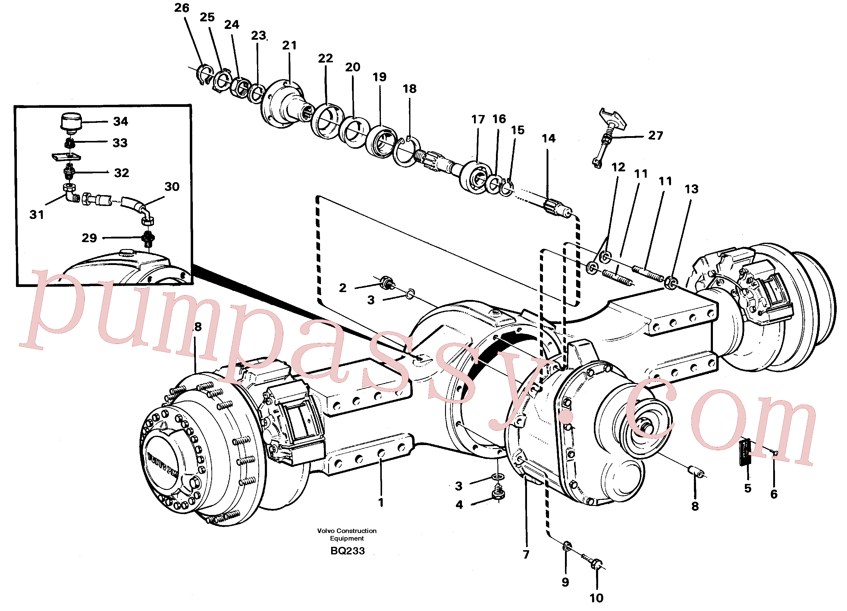 VOE14101983 for Volvo Planetary axle, axle 1 load unit(BQ233 assembly)