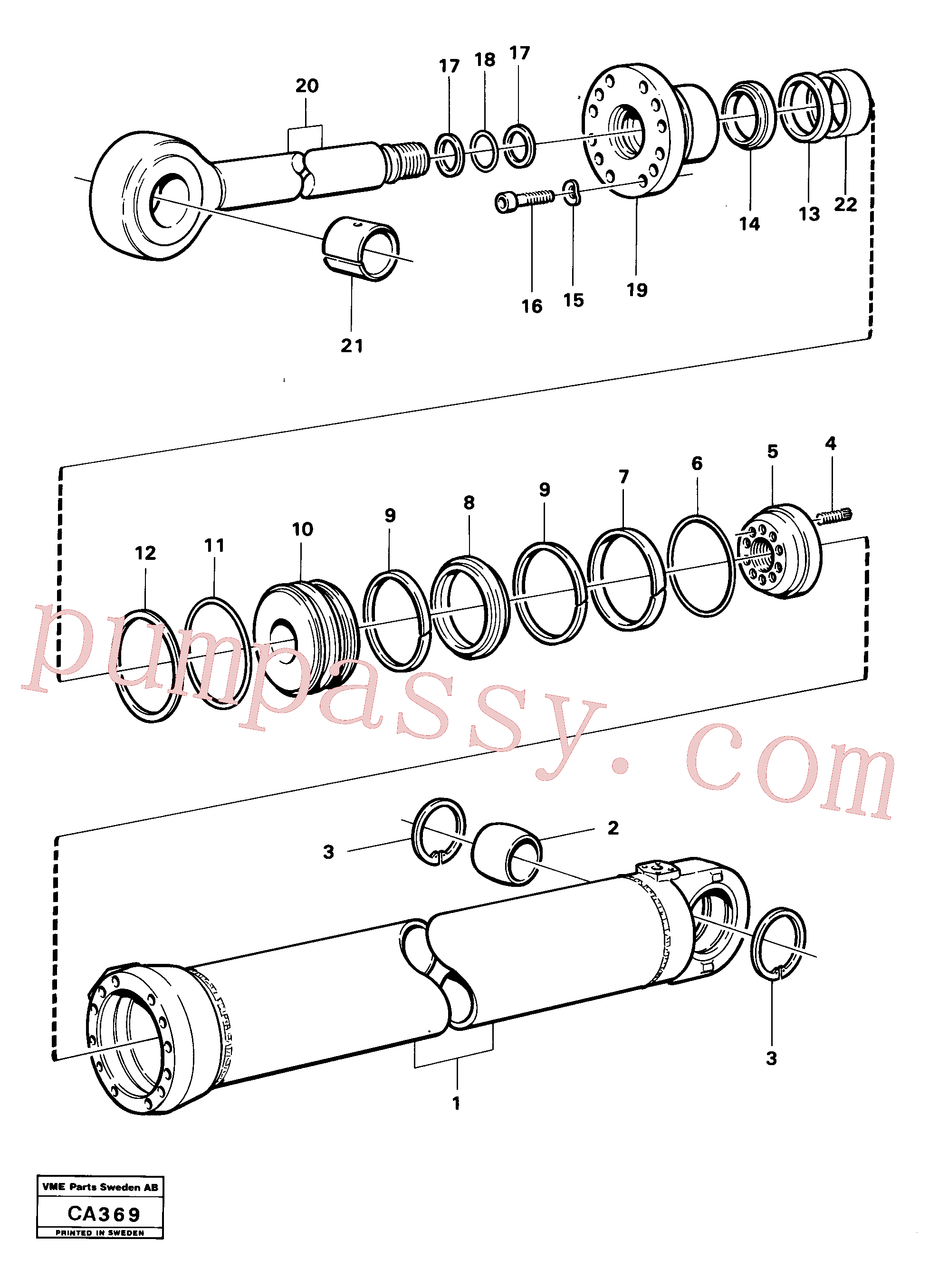 VOE4755948 for Volvo Hydraulic cylinder dipperstick cylinder(CA369 assembly)