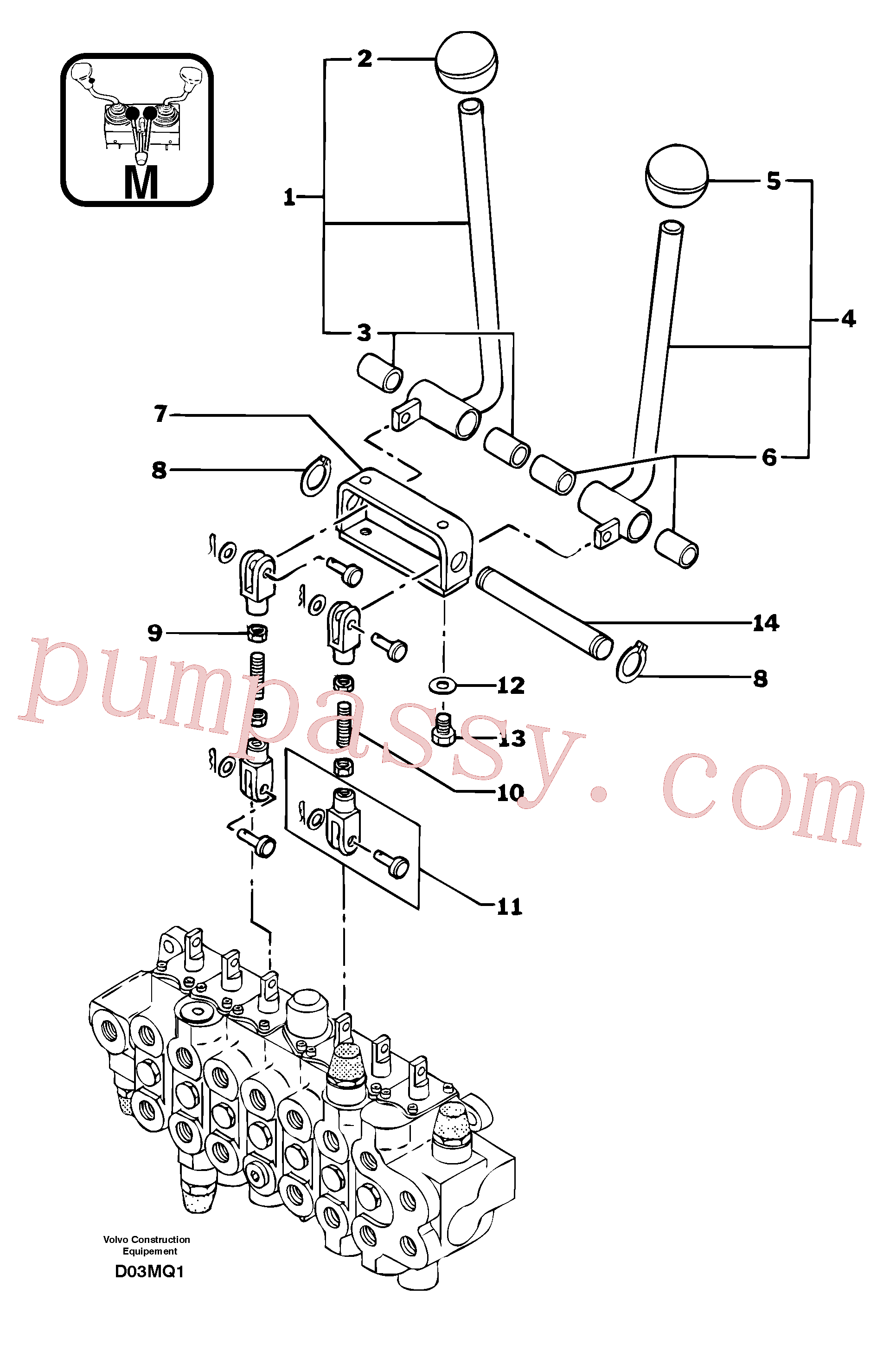 PJ4380037 for Volvo Control levers : travelling(D03MQ1 assembly)